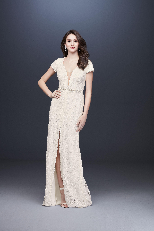 short sleeve lace slit wedding dress davids bridal galina Spring 2020