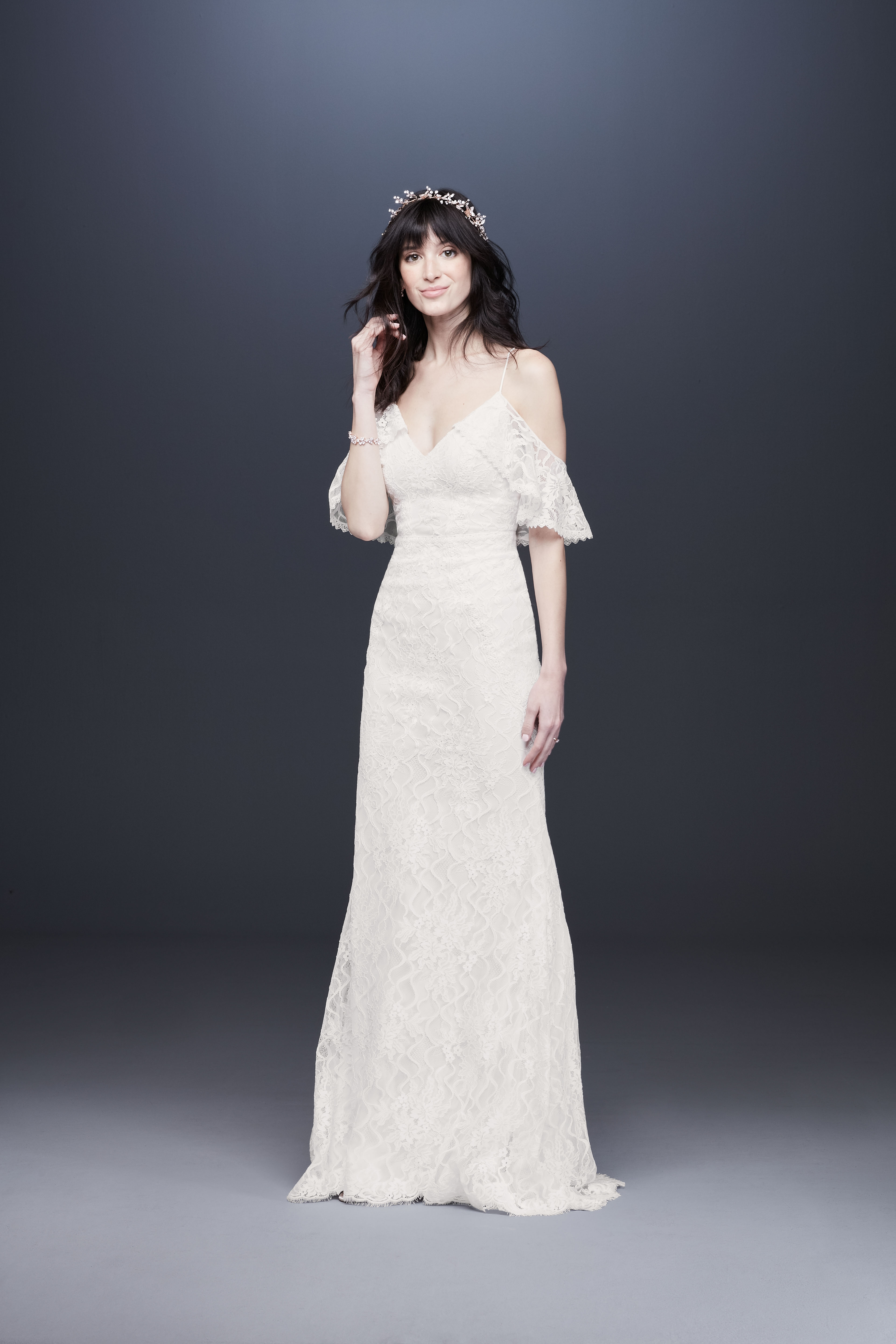 bell sleeve spaghetti strap drop sleeve lace wedding dress davids bridal galina Spring 2020