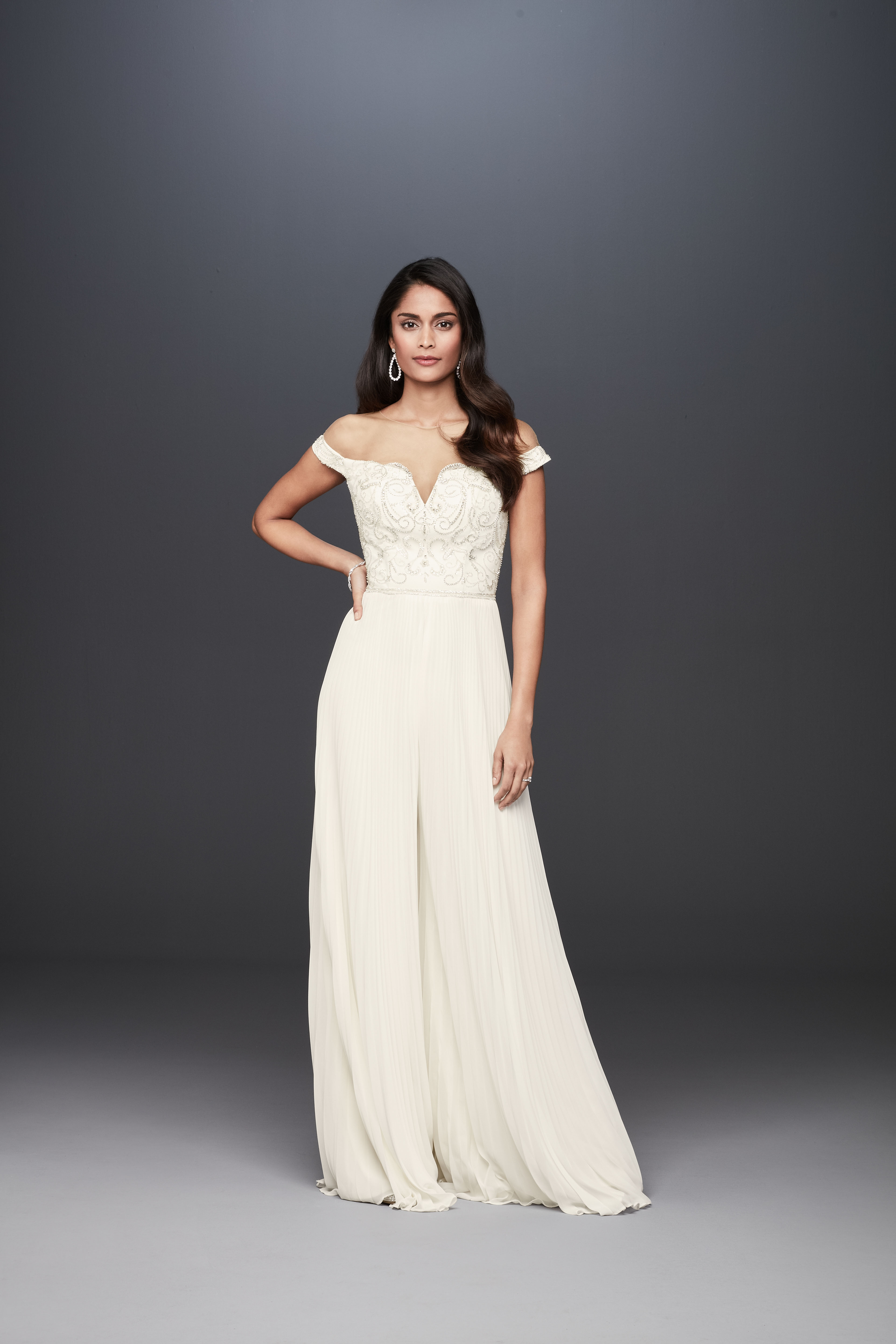 off-the-shoulder sweetheart neckline a-line wedding dress Galina Signature Spring 2020