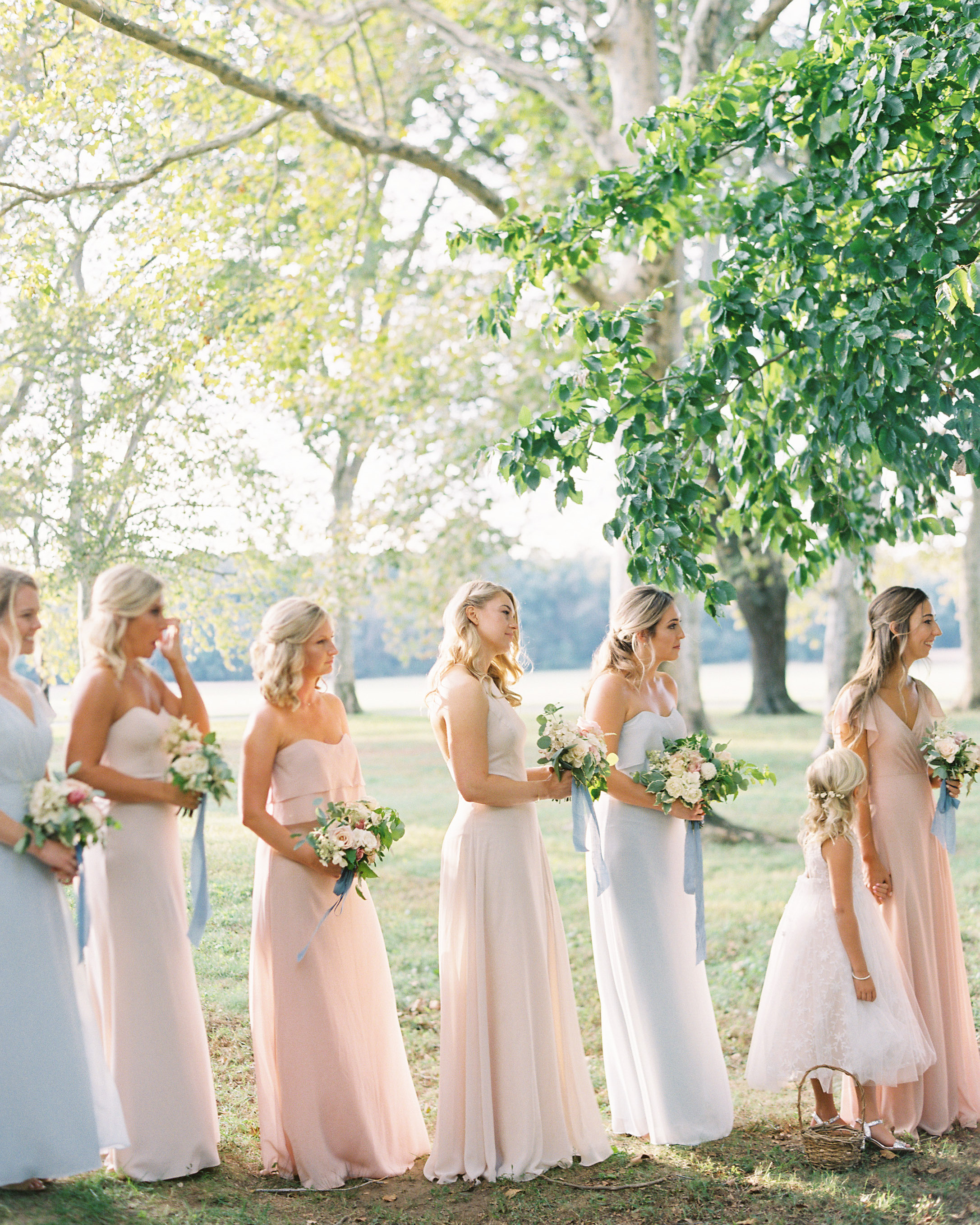 outdoor wedding bridesmaids blue pink dresses
