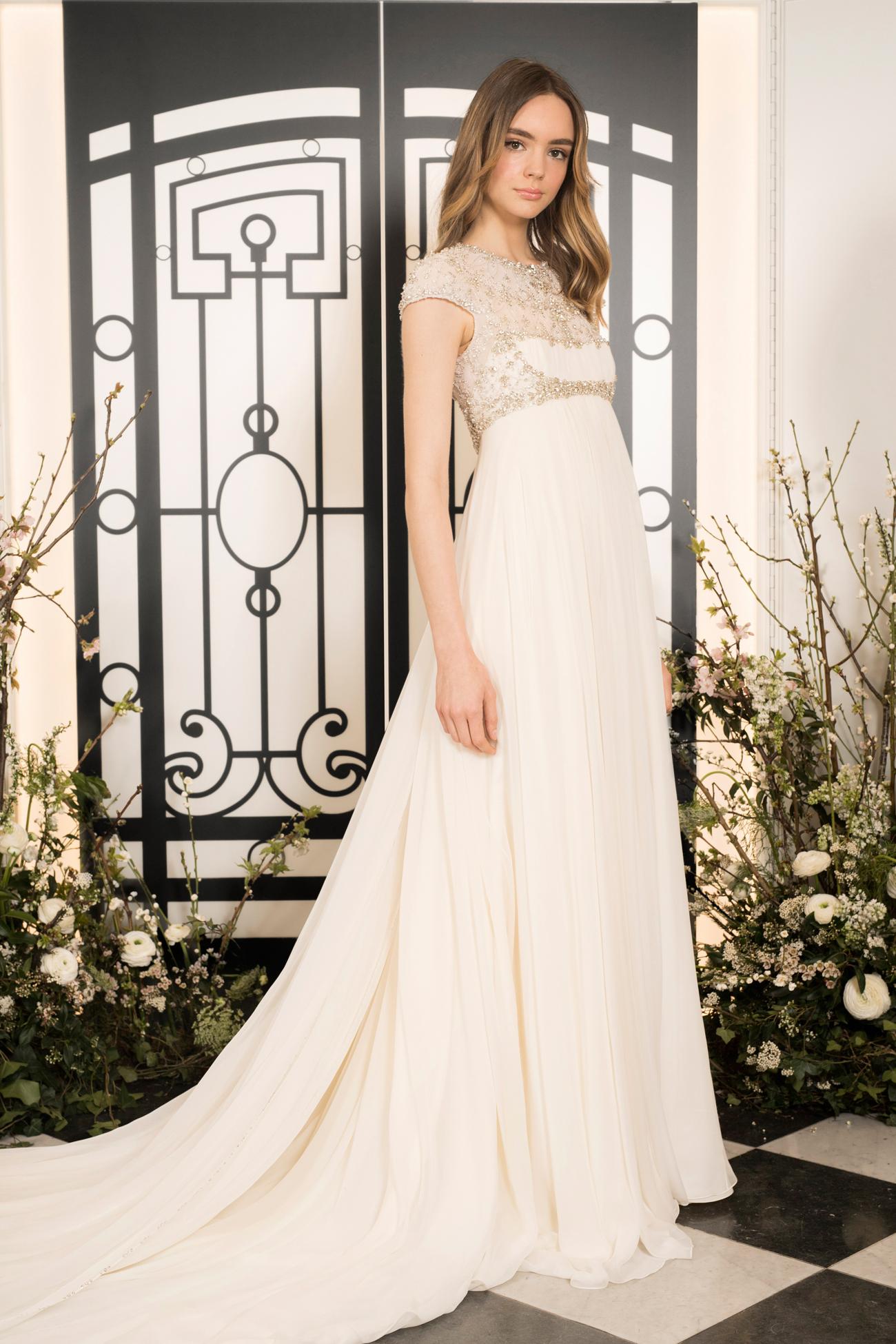 jenny packham beaded short sleeve jewel neckline sheath wedding dress with train spring 2020