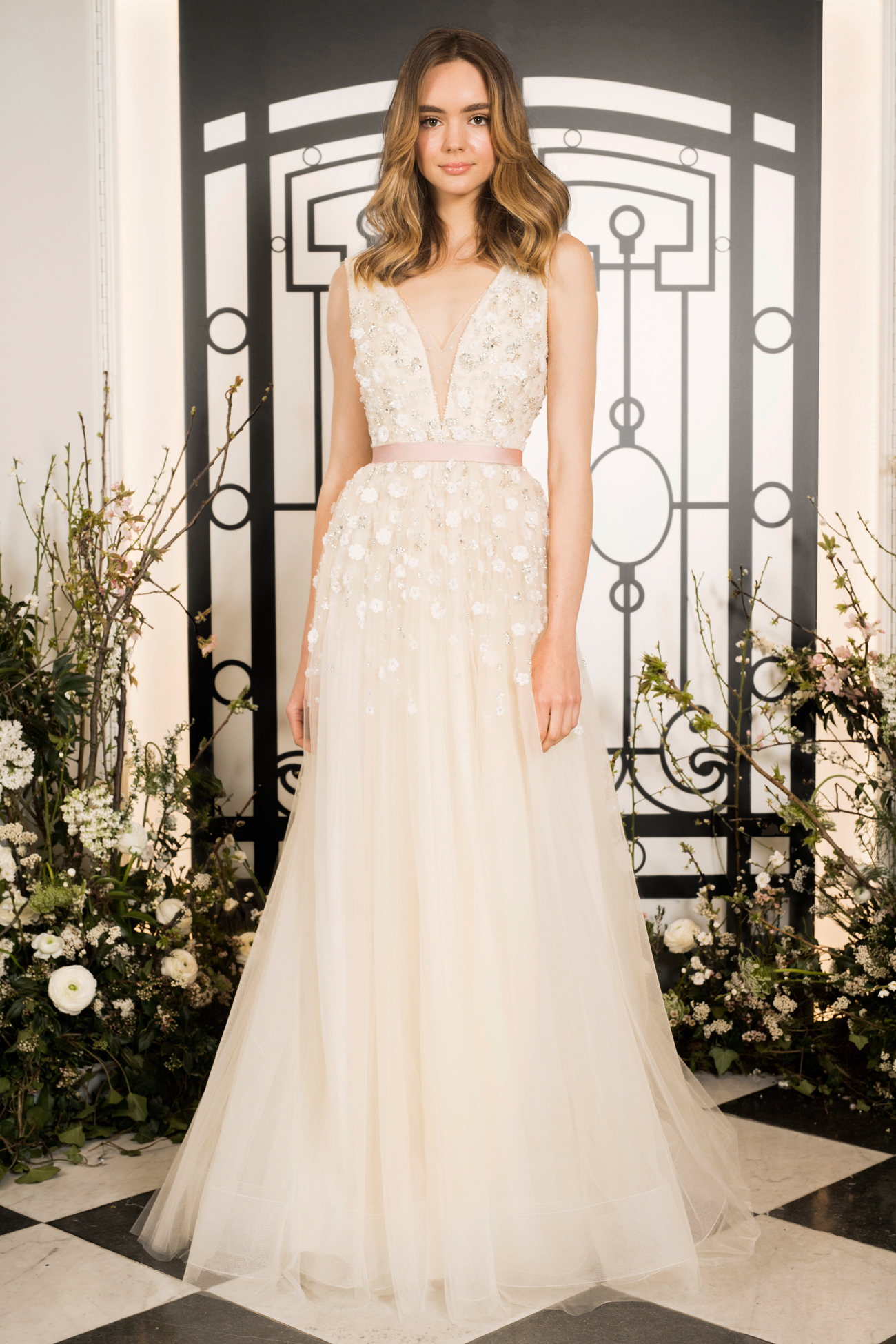 jenny packham illusion deep v-neck a-line tulle wedding dress spring 2020