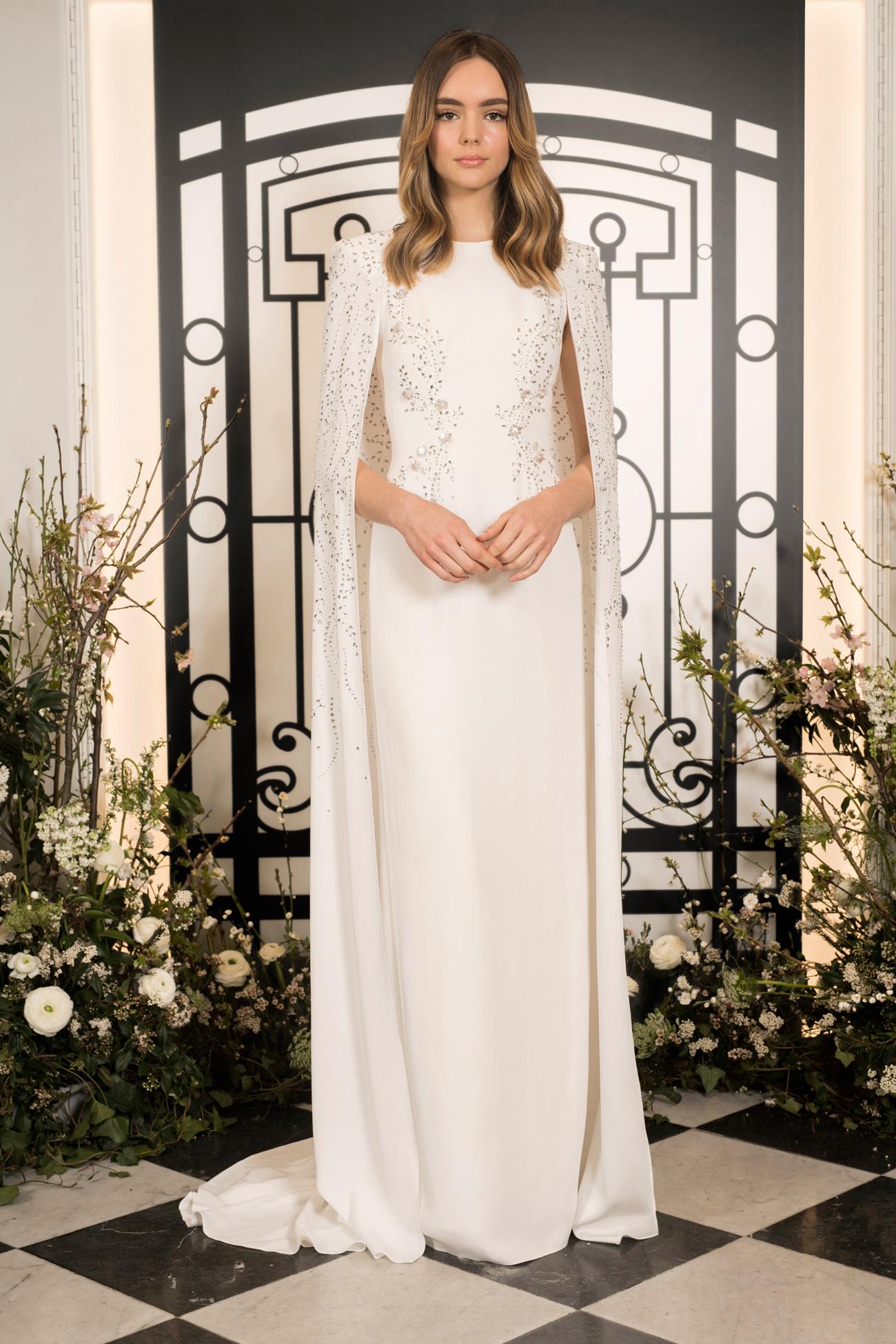 jenny packham beaded high-neckline sheath wedding dress with cape spring 2020