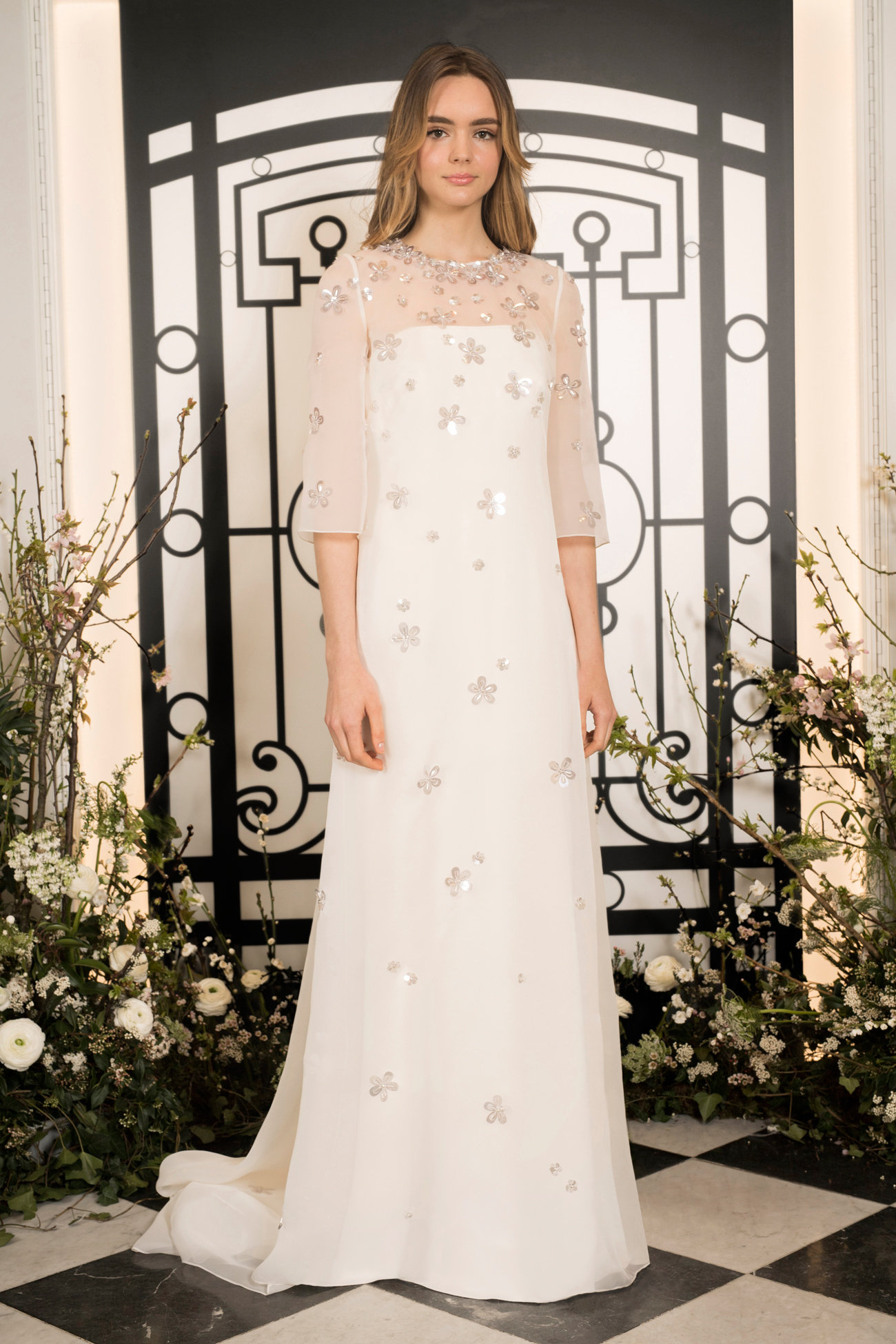 jenny packham shimmery floral applique illusion high neckline sheath wedding dress spring 2020