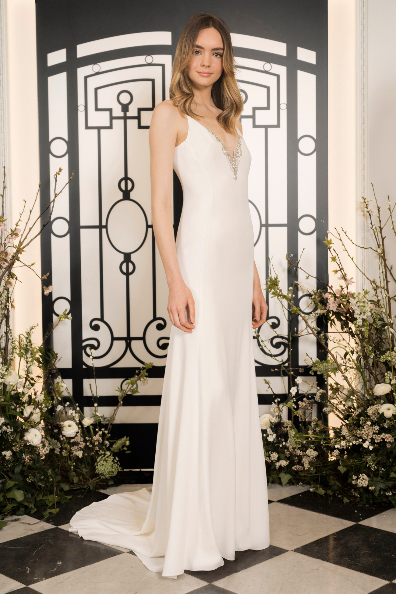 jenny packham spaghetti strap v-neck sheath wedding dress spring 2020