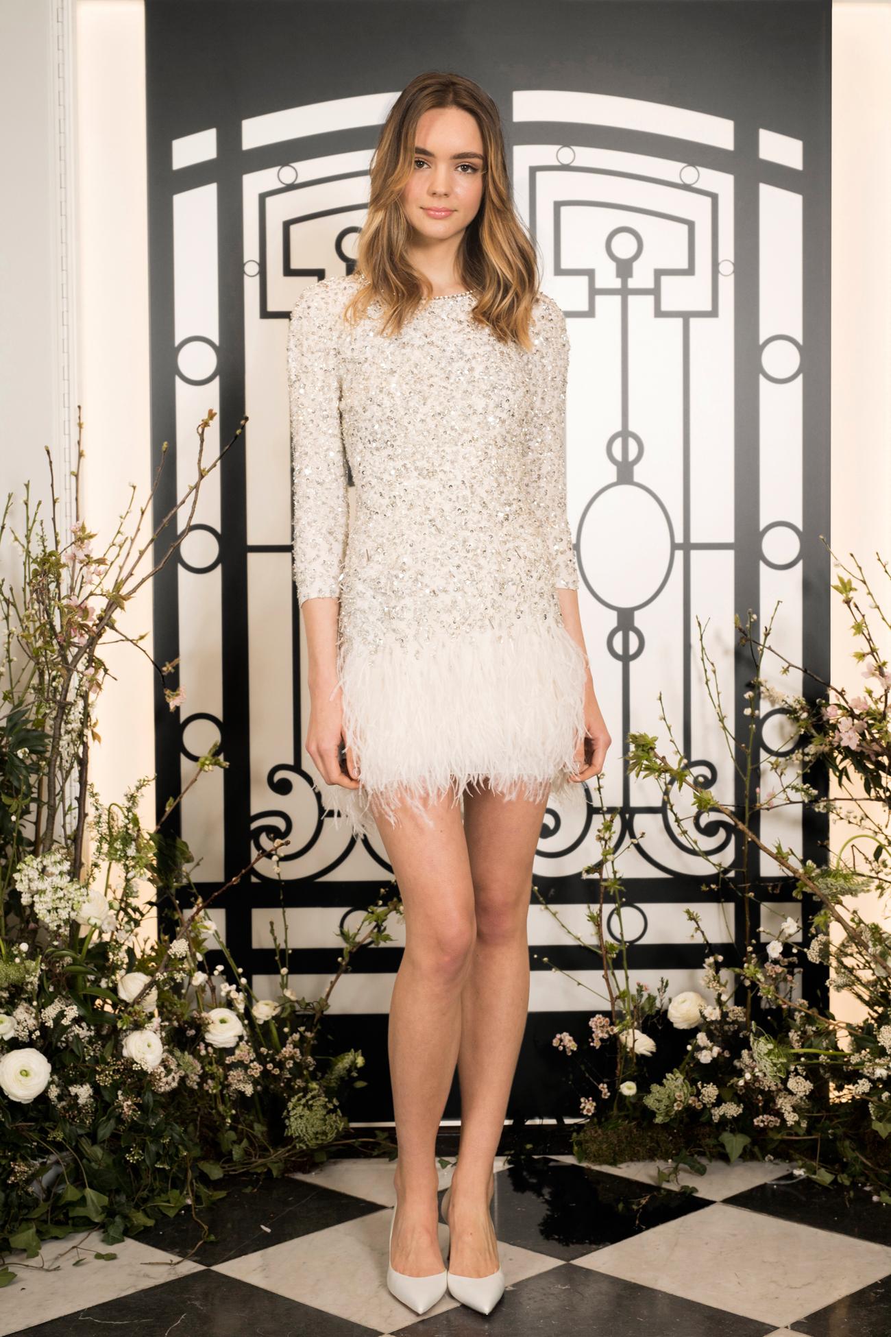 jenny packham beaded and feathered three quarter sleeve short wedding dress spring 2020