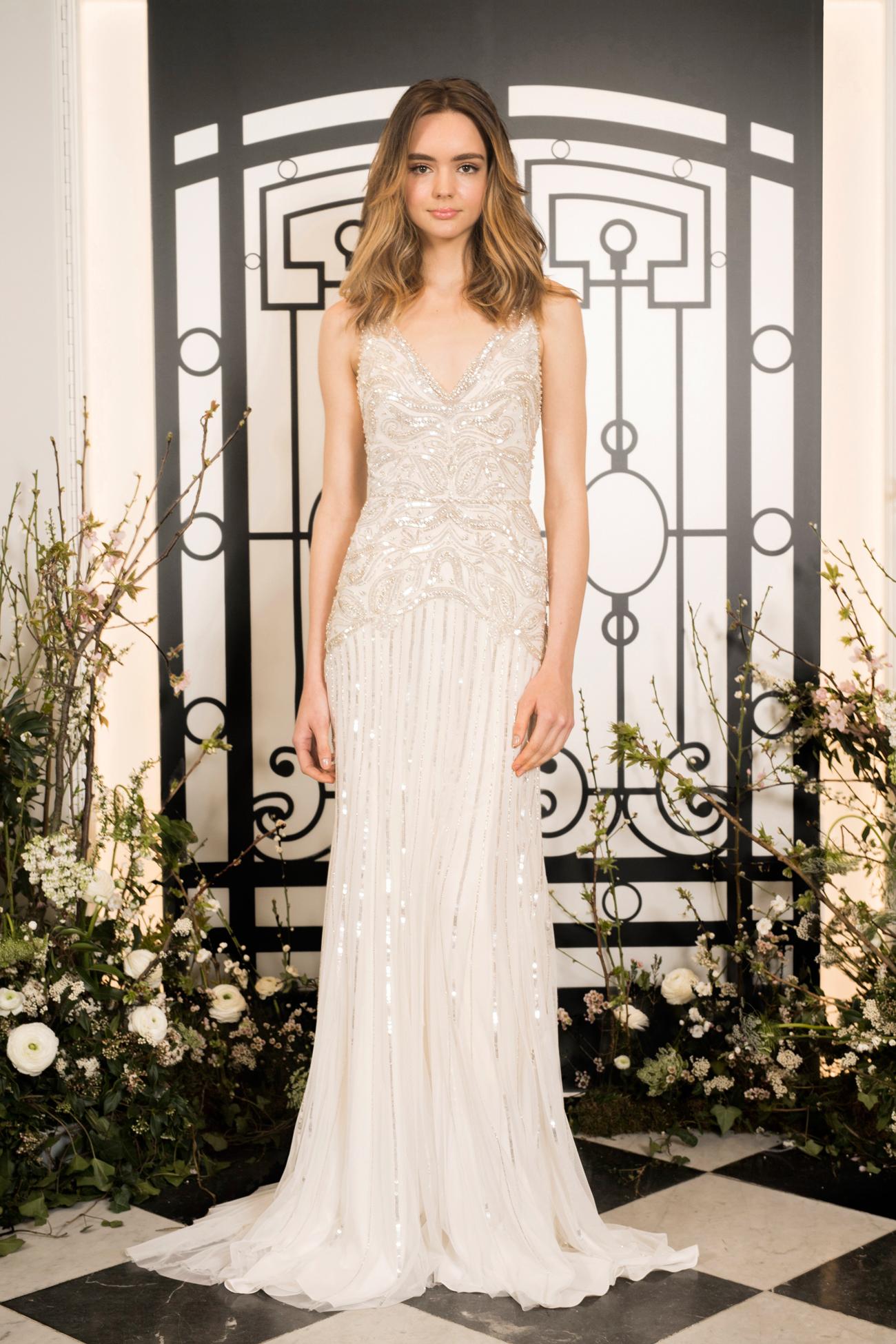 jenny packham beaded v-neck spaghetti strap sheath wedding dress spring 2020