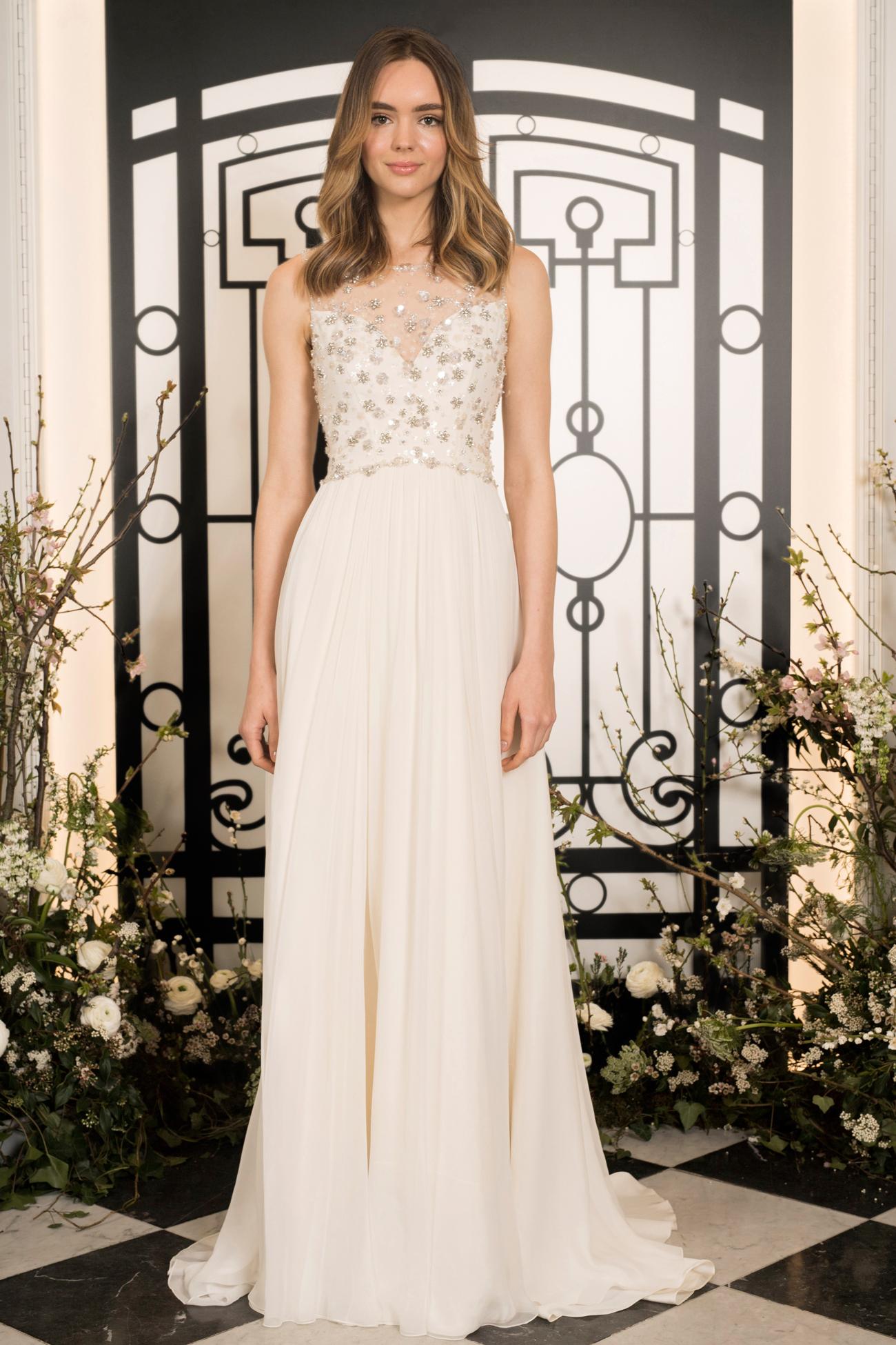 jenny packham beaded illusion high neckline sheath wedding dress spring 2020