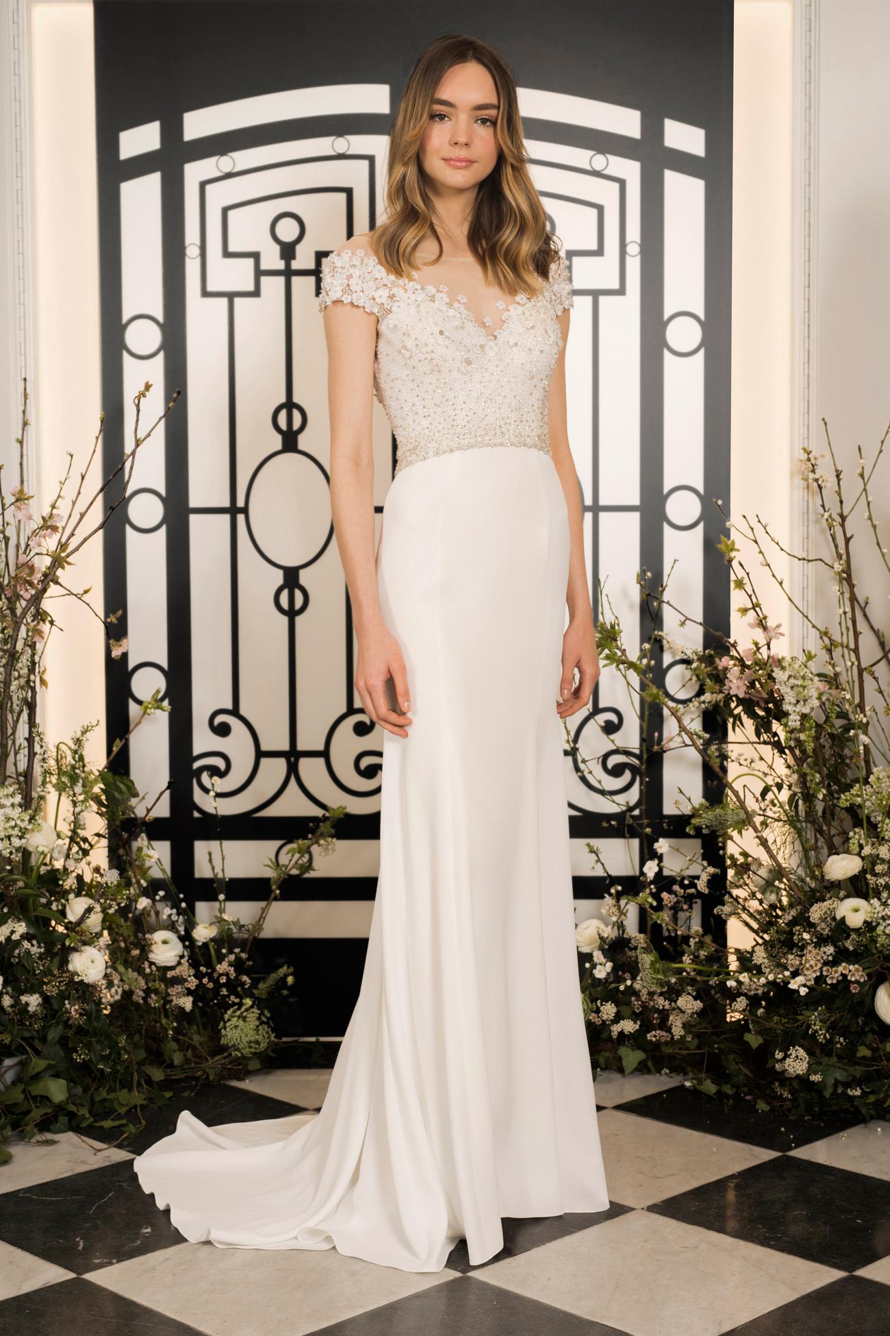 jenny packham floral applique illusion off the shoulder sheath wedding dress spring 2020