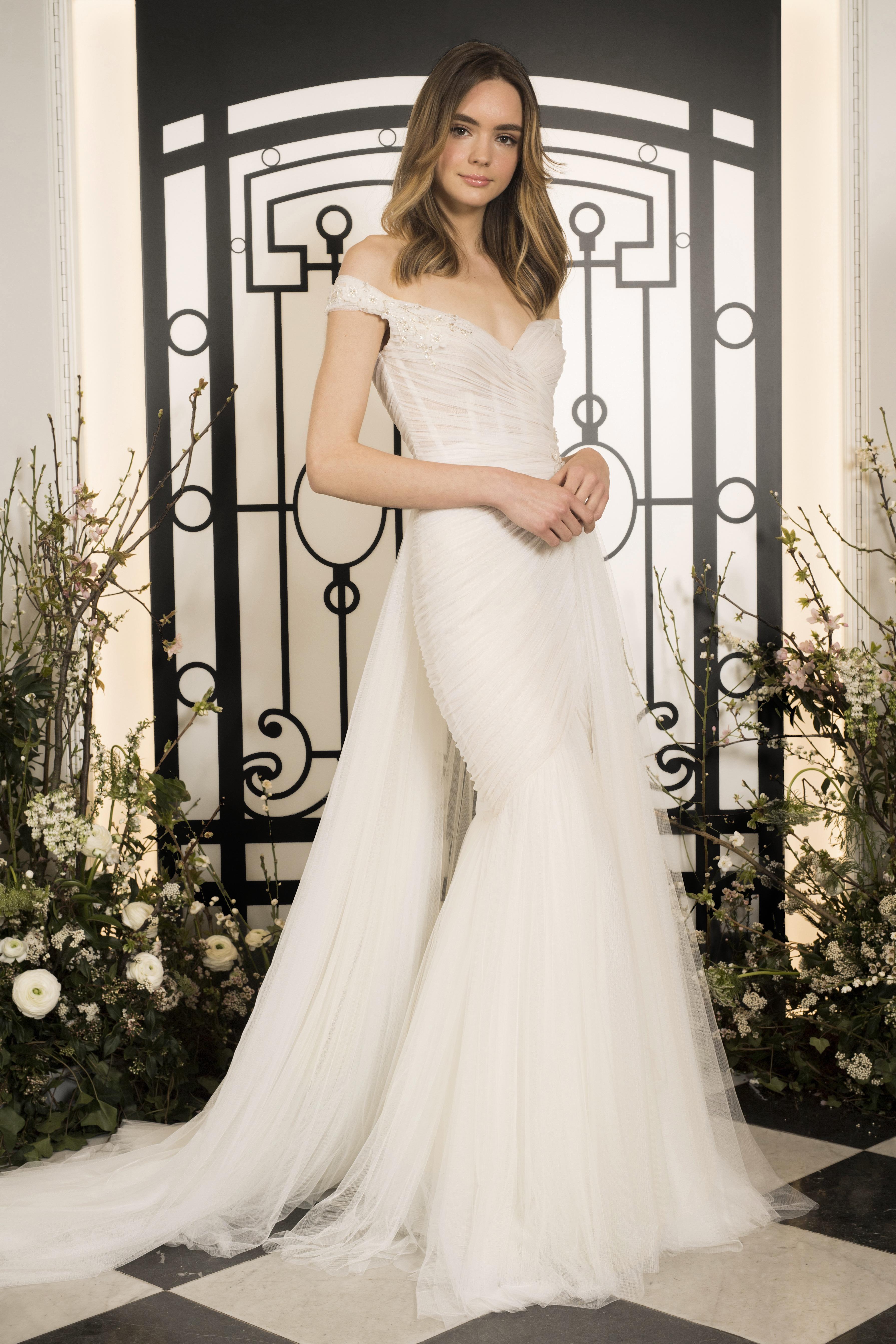 jenny packham off-shoulder mermaid tulle wedding dress spring 2020