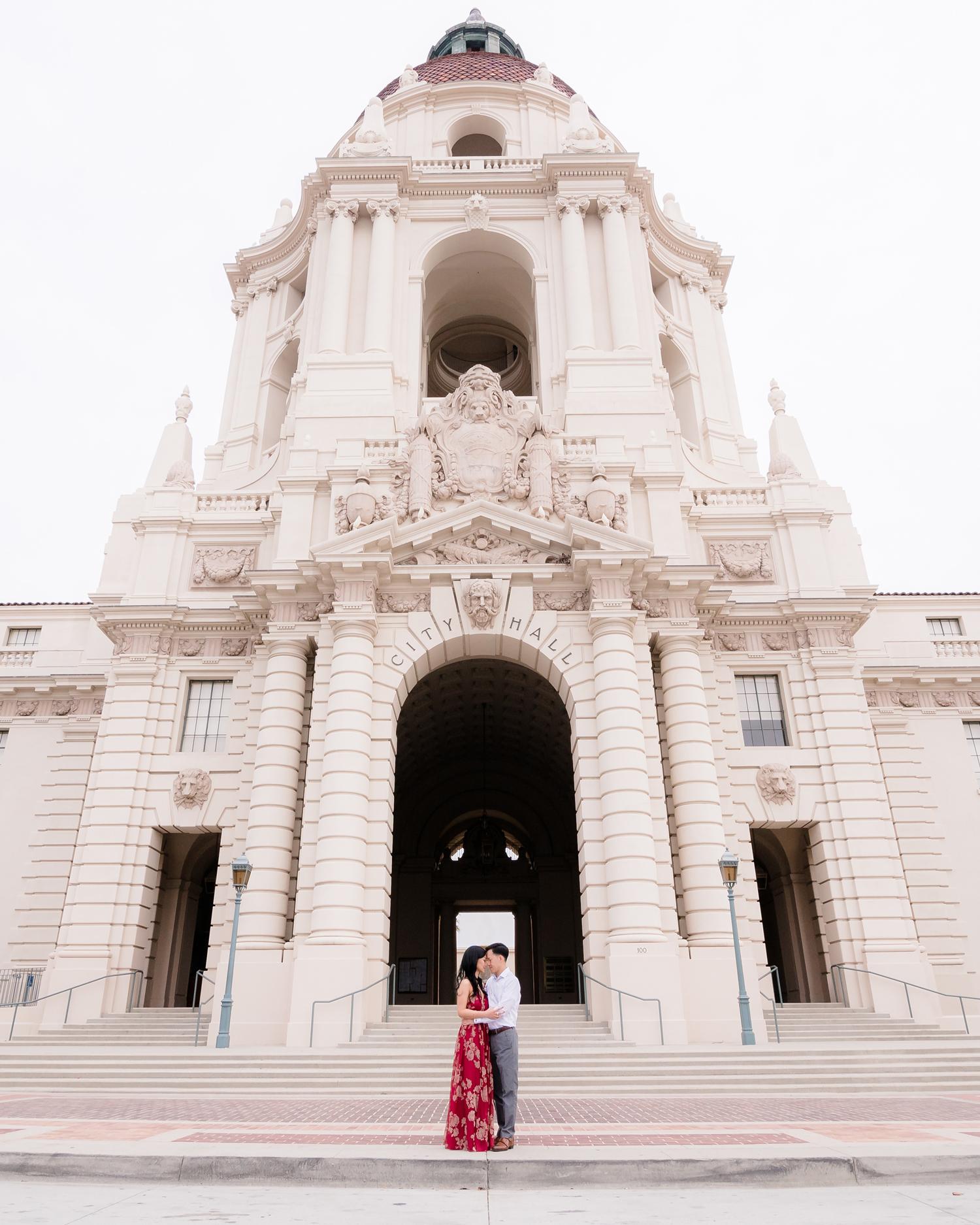 city hall wedding bride and groom embracing