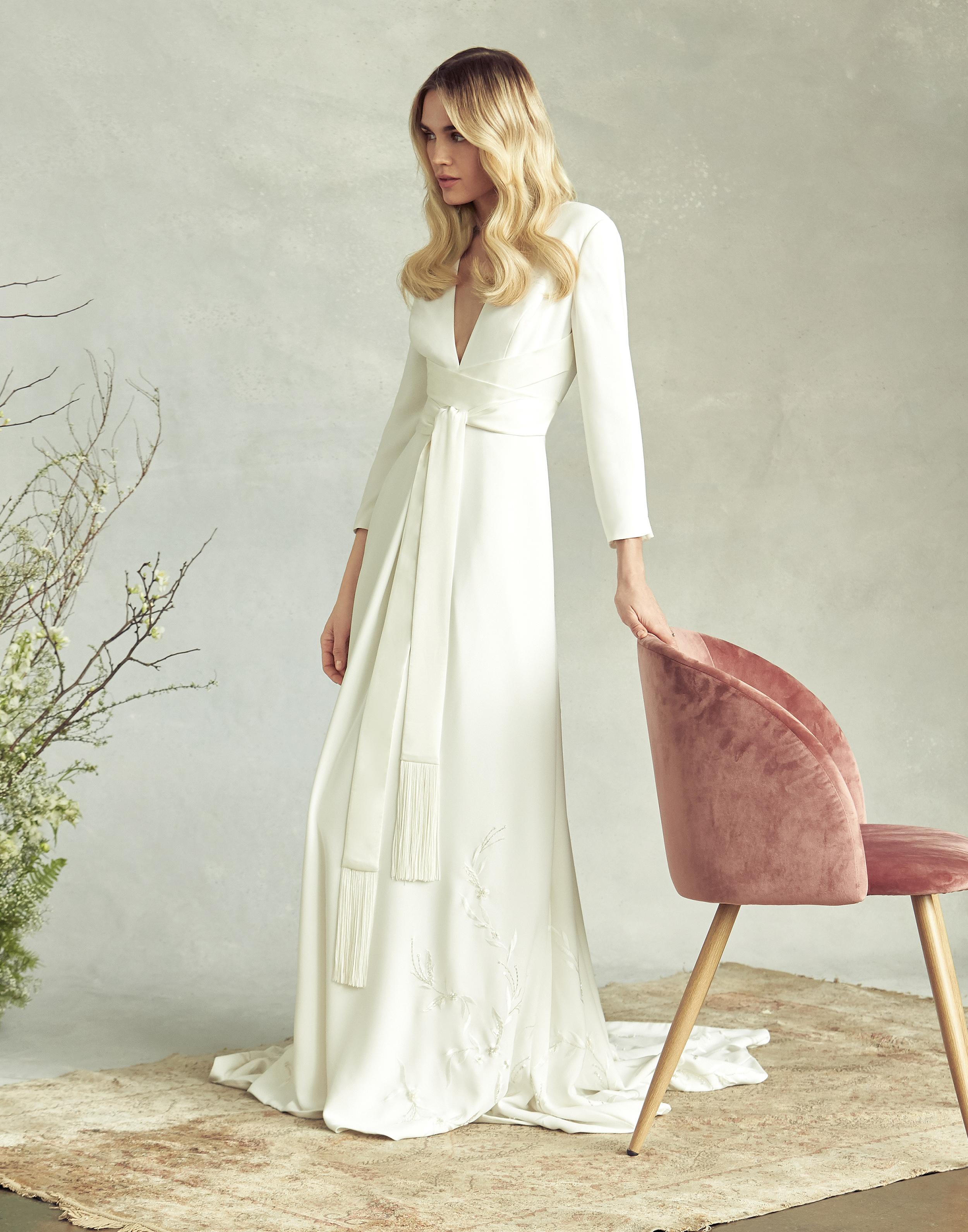 savannah miller v-neck three-quarter length sleeves wedding dress spring 2020