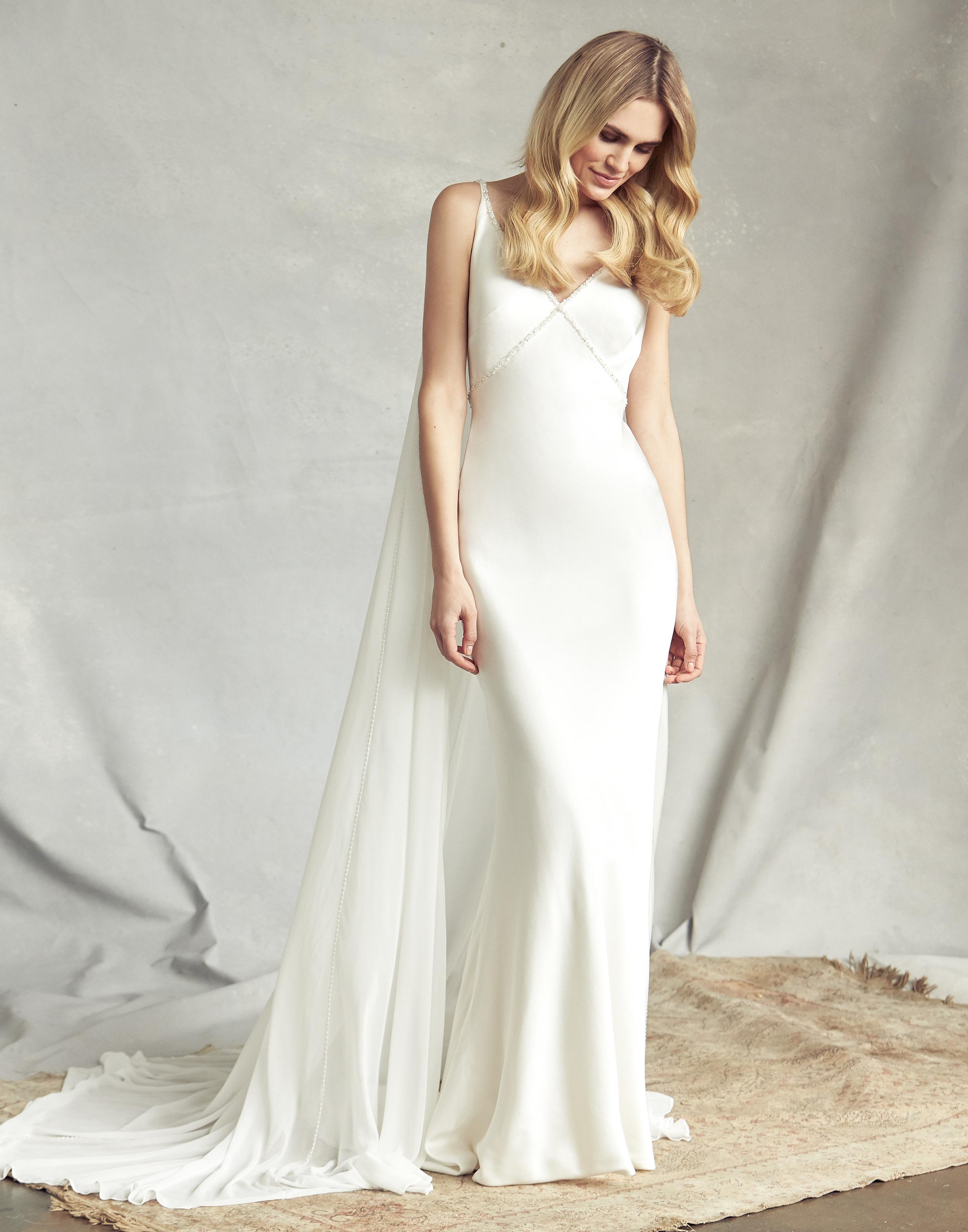 savannah miller spaghetti strap mermaid wedding dress spring 2020
