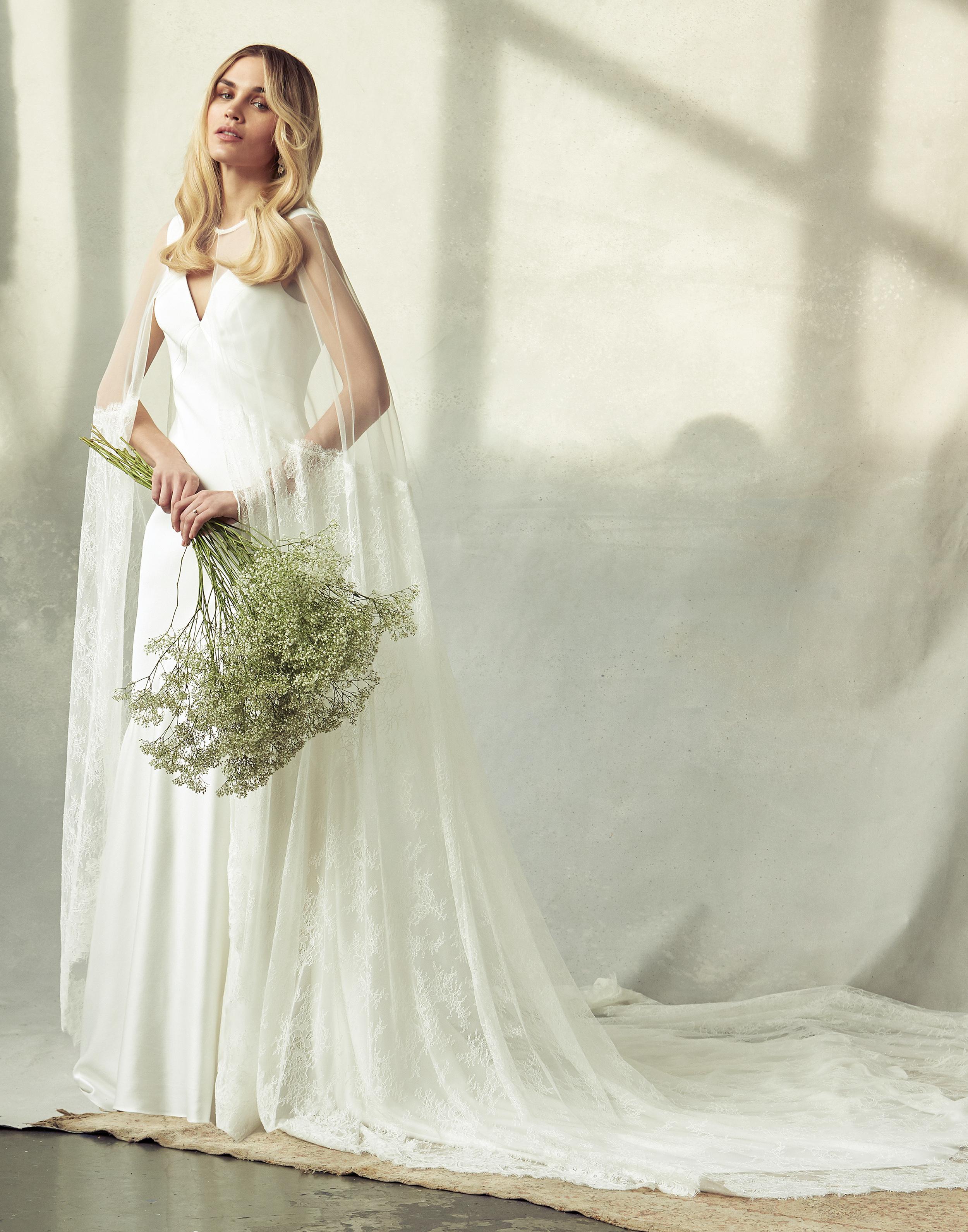 savannah miller v-neck with illusion cape wedding dress spring 2020
