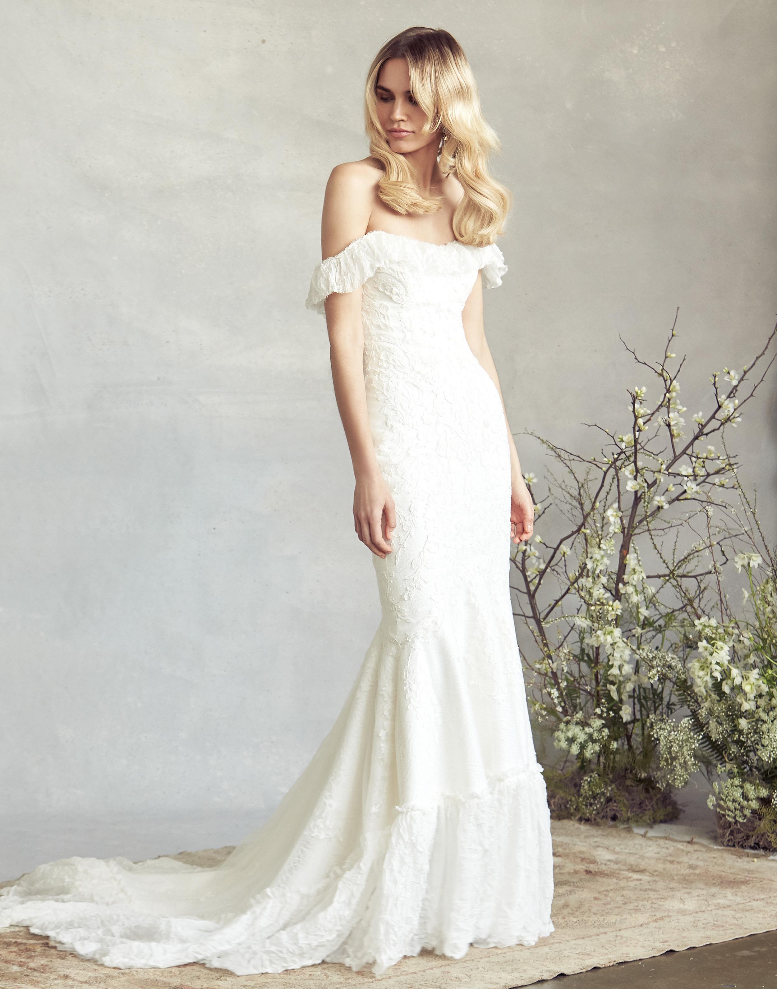 savannah miller off the shoulder mermaid wedding dress spring 2020
