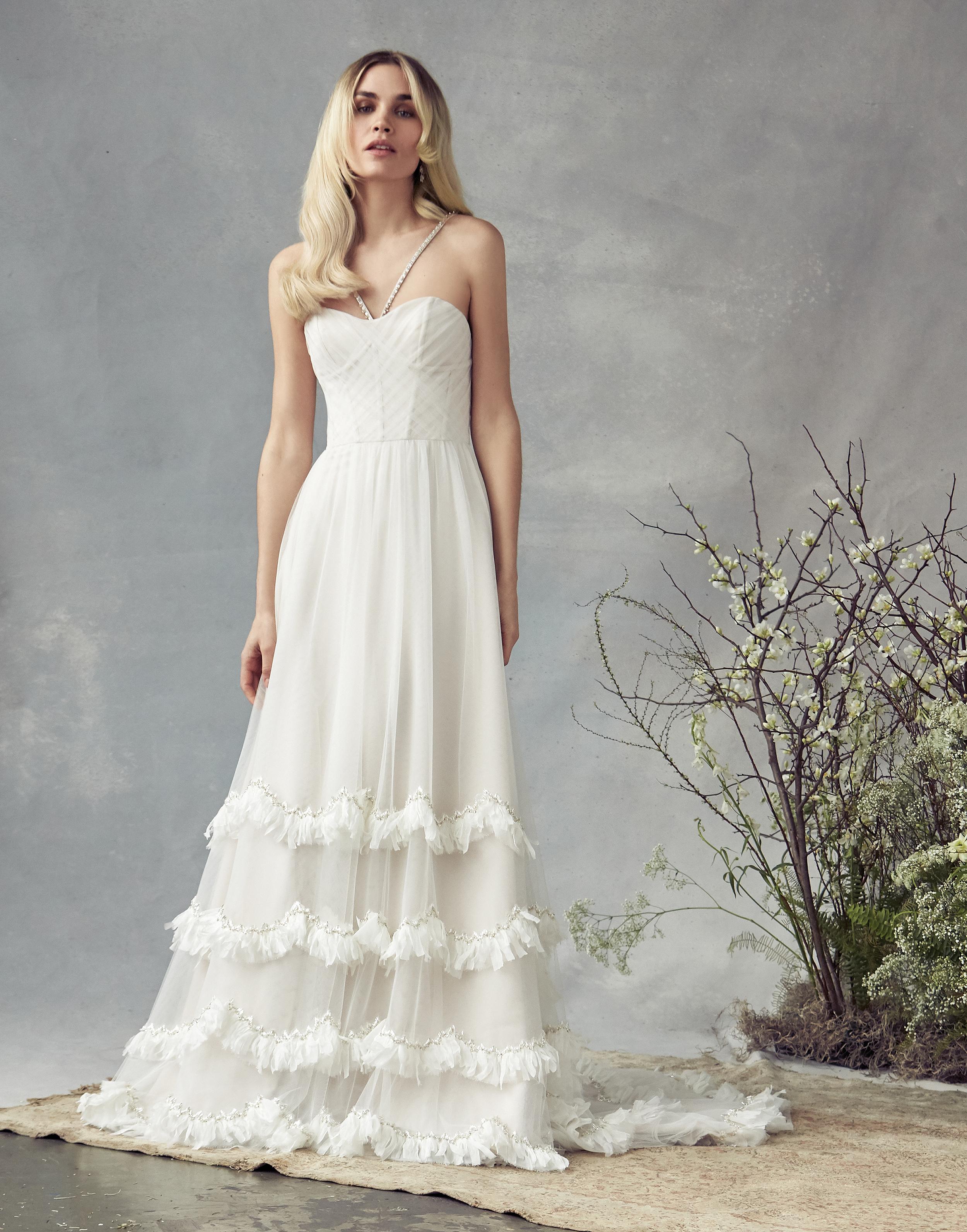 savannah miller a-line with ruffles wedding dress spring 2020