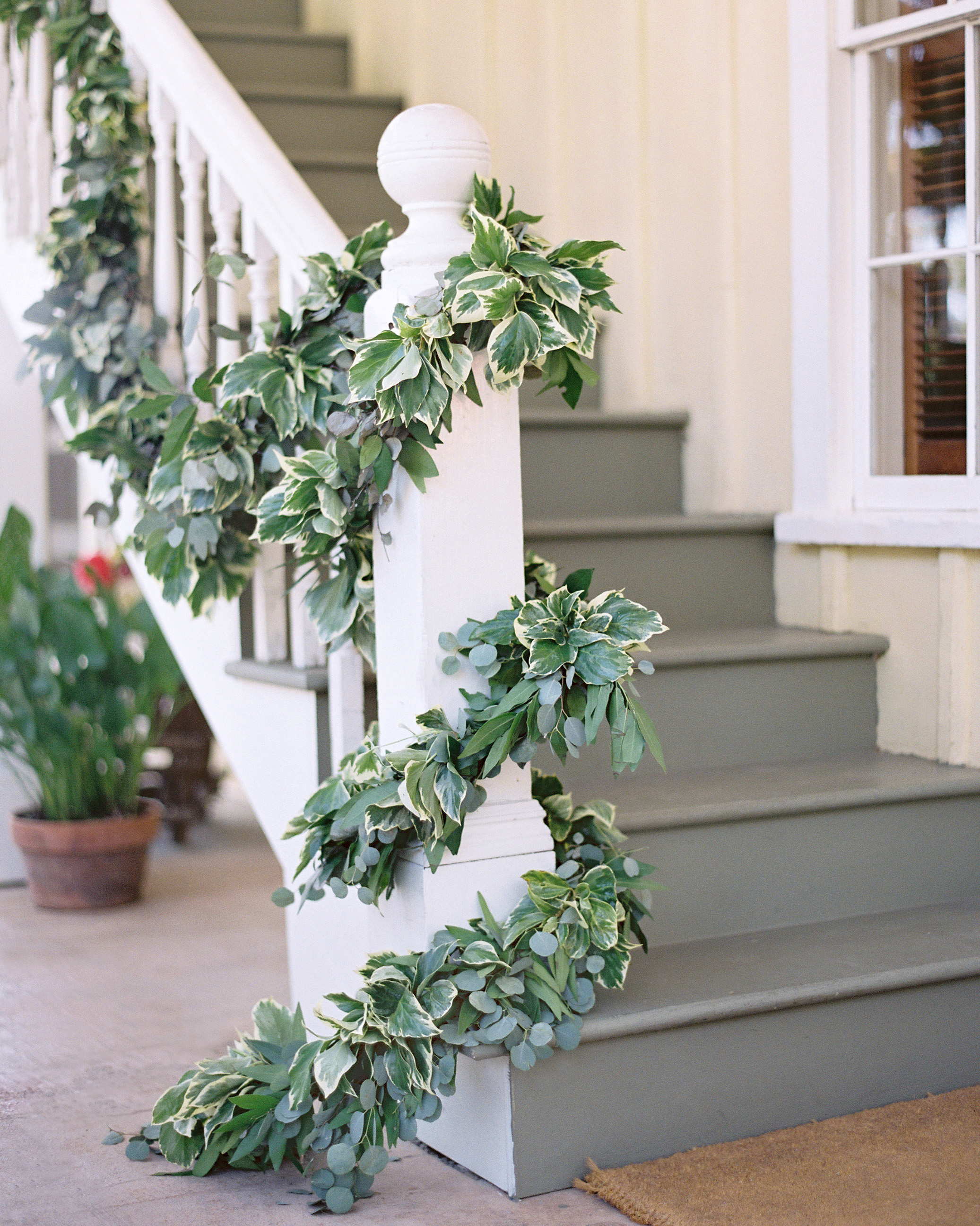 stair banister decor garland wrap
