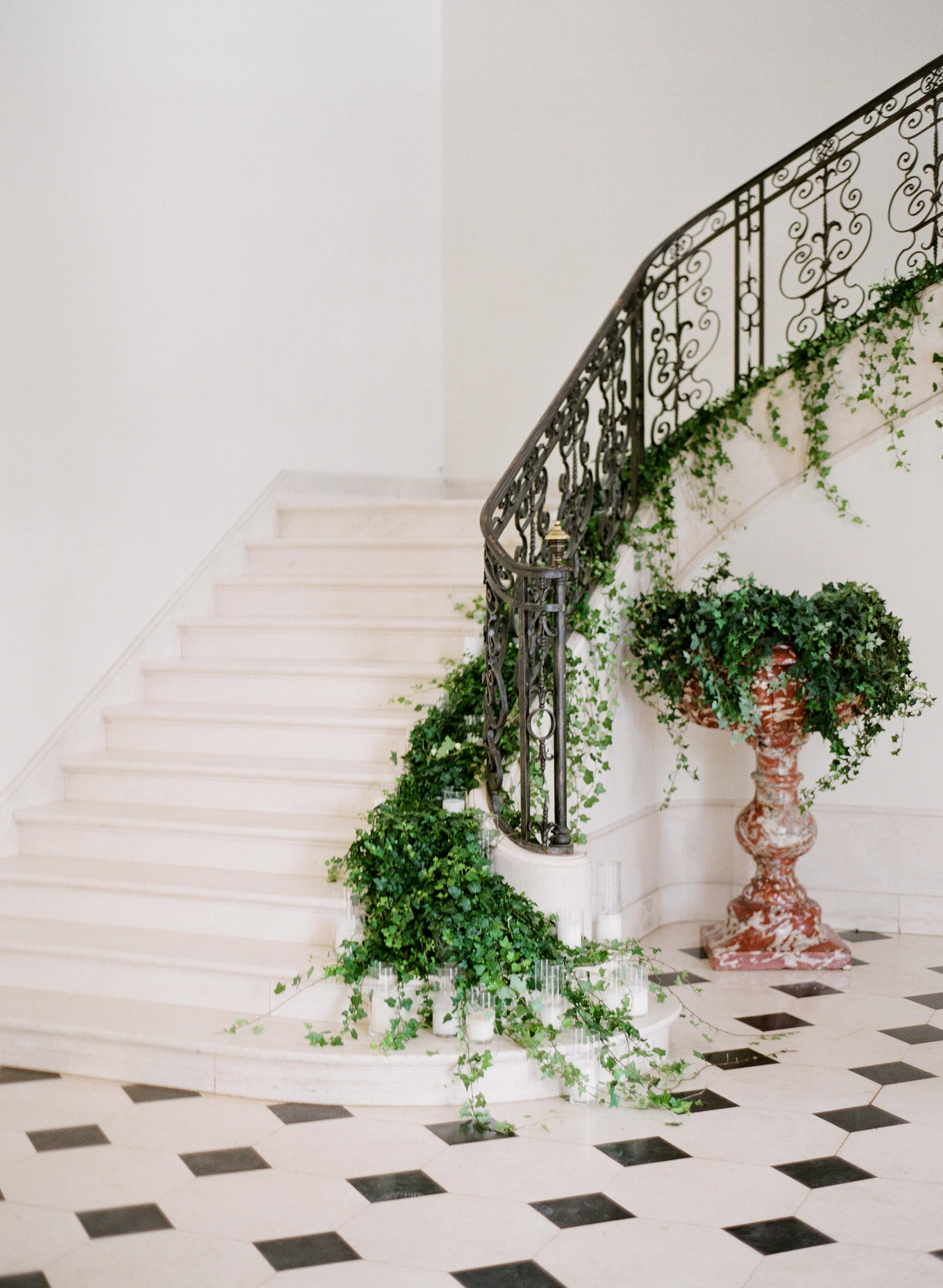 stair banister decor overflowing english ivy