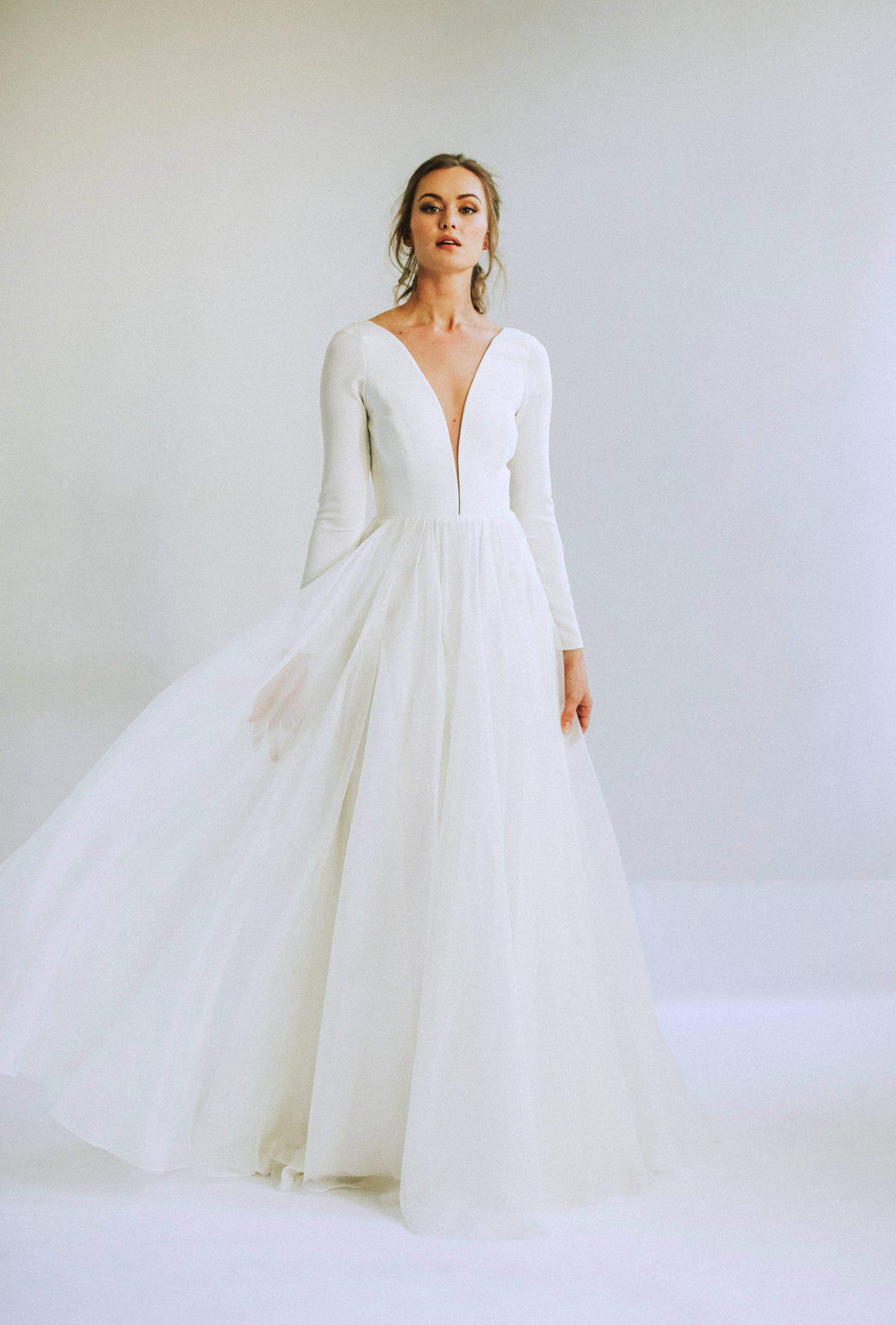 leanna marshall long sleeve deep slit bodice sheer ball gown wedding dress spring 2020
