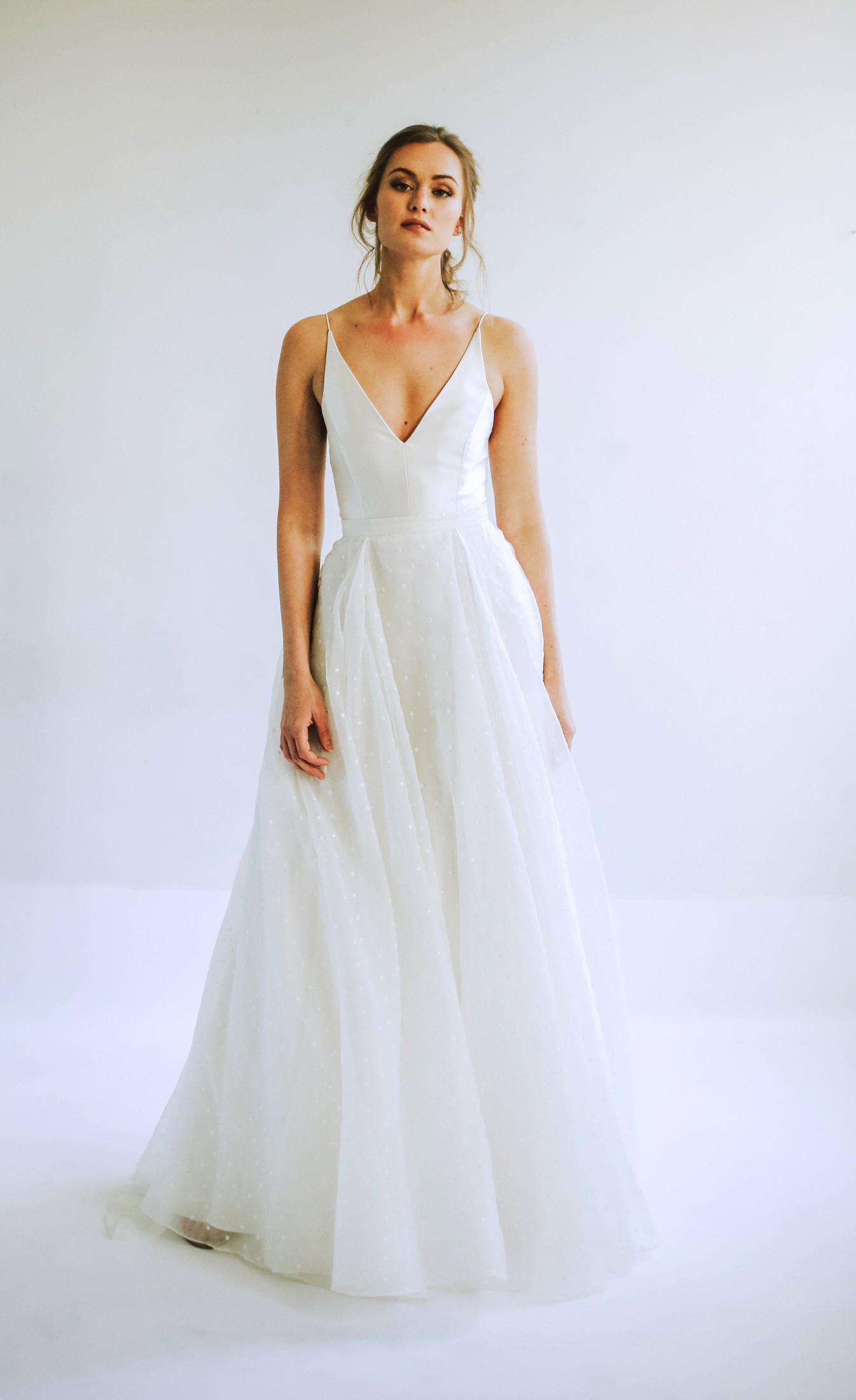 leanna marshall spaghetti strap v neck a line wedding dress spring 2020