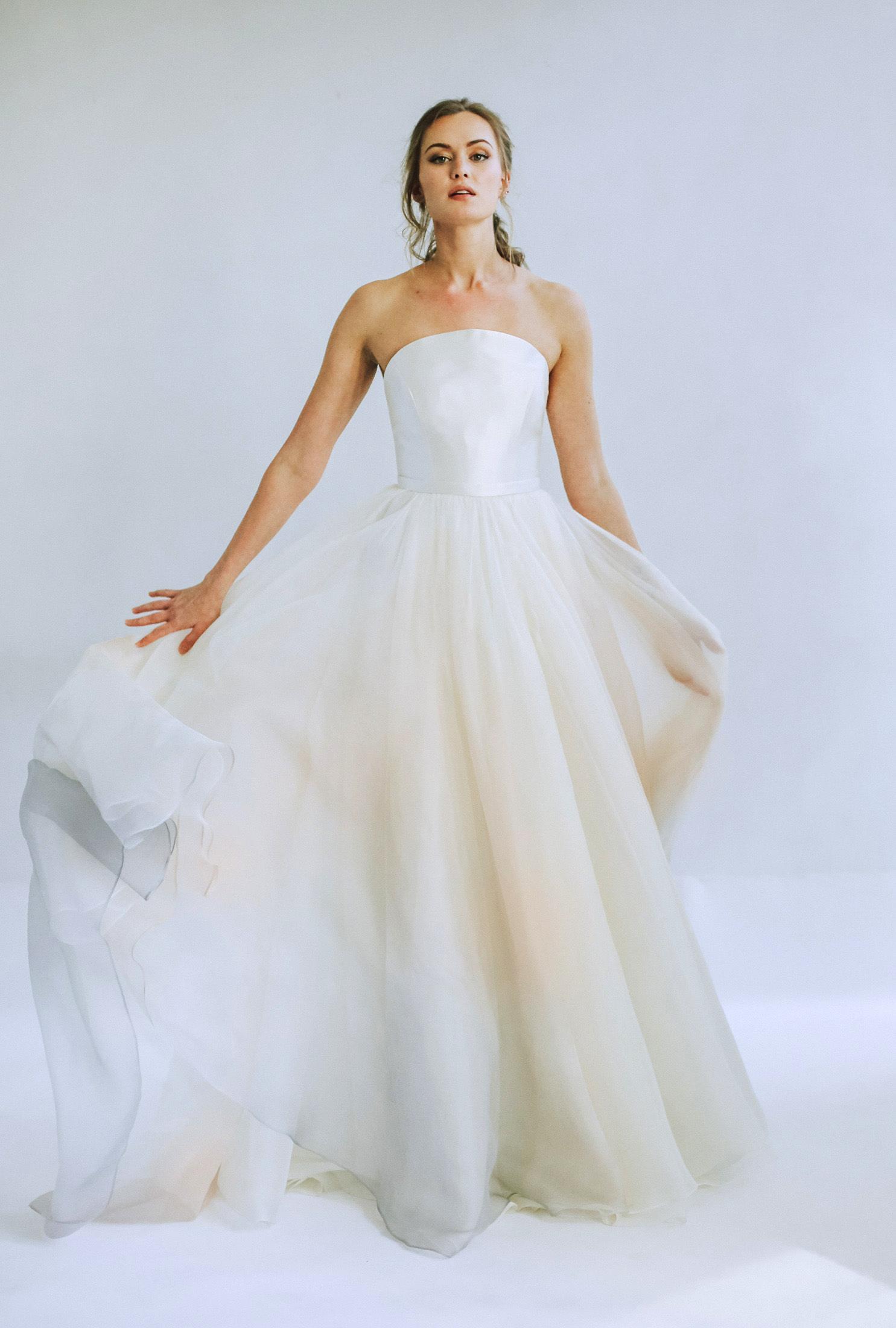 leanna marshall strapless sheer ball gown wedding dress spring 2020