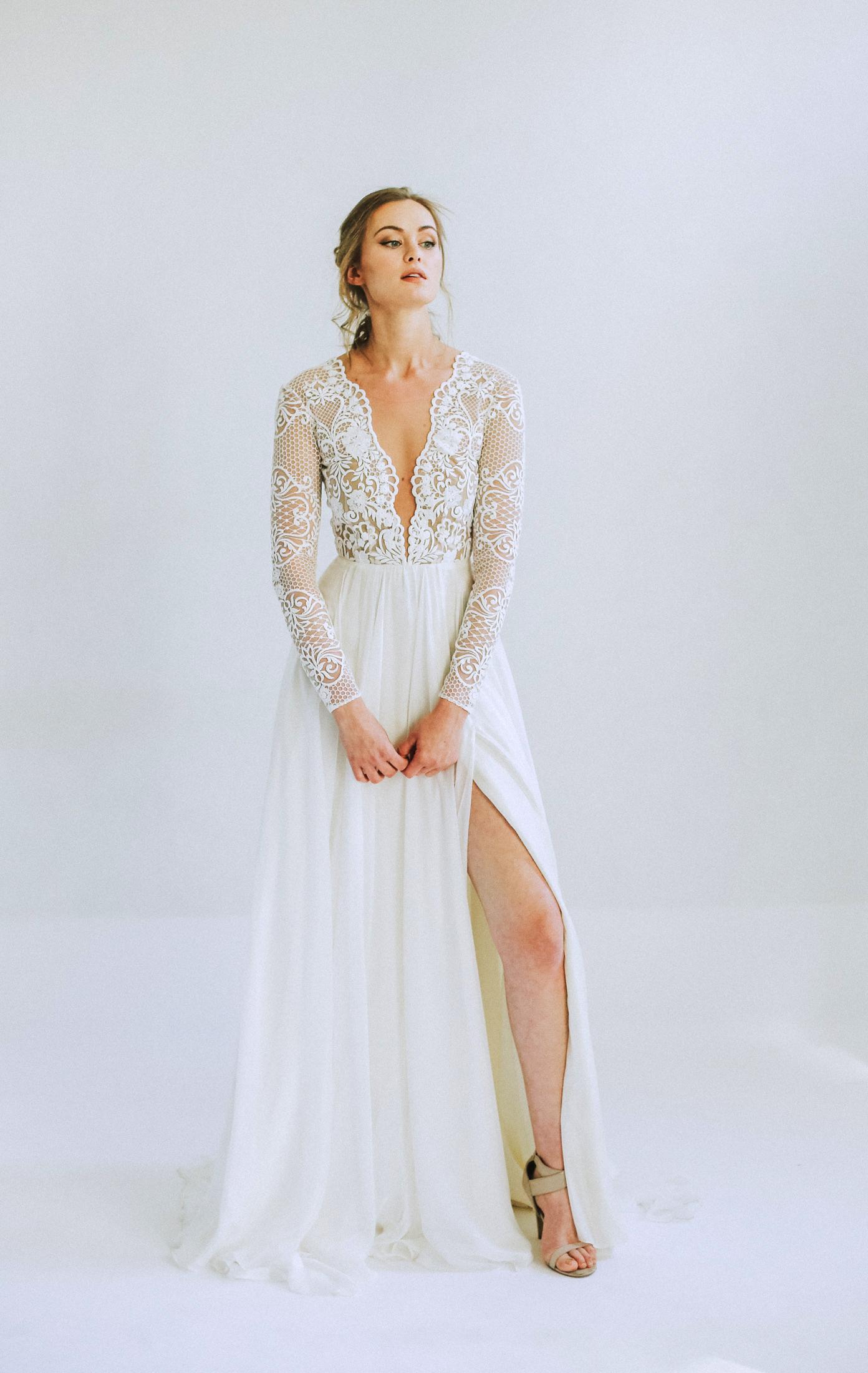 leanna marshall illusion lace long sleeve high slit wedding dress spring 2020