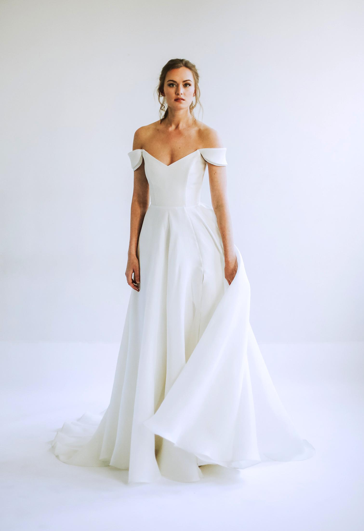 leanna marshall off the shoulder v neck a line wedding dress spring 2020