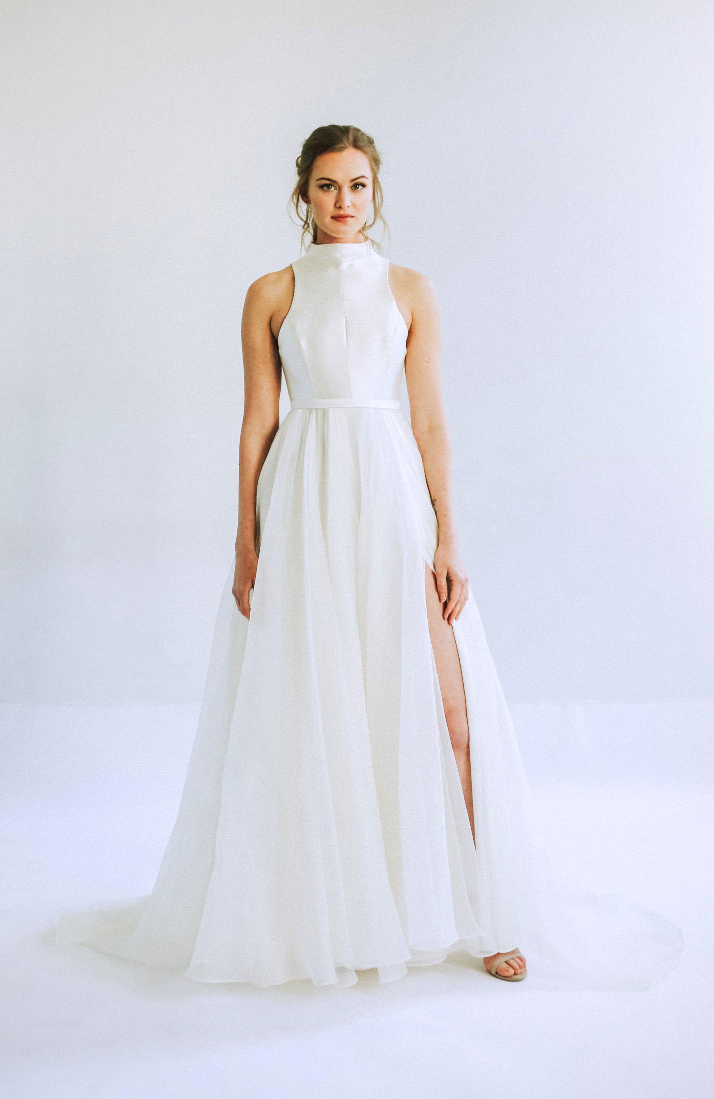leanna marshall halter top sleeveless wedding dress spring 2020