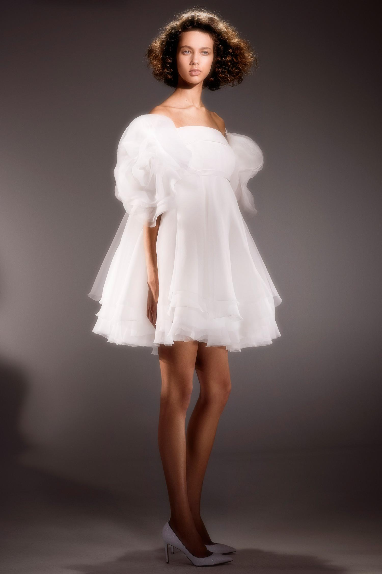 viktor and rolf short off the shoulder ruffled wedding dress spring 2020