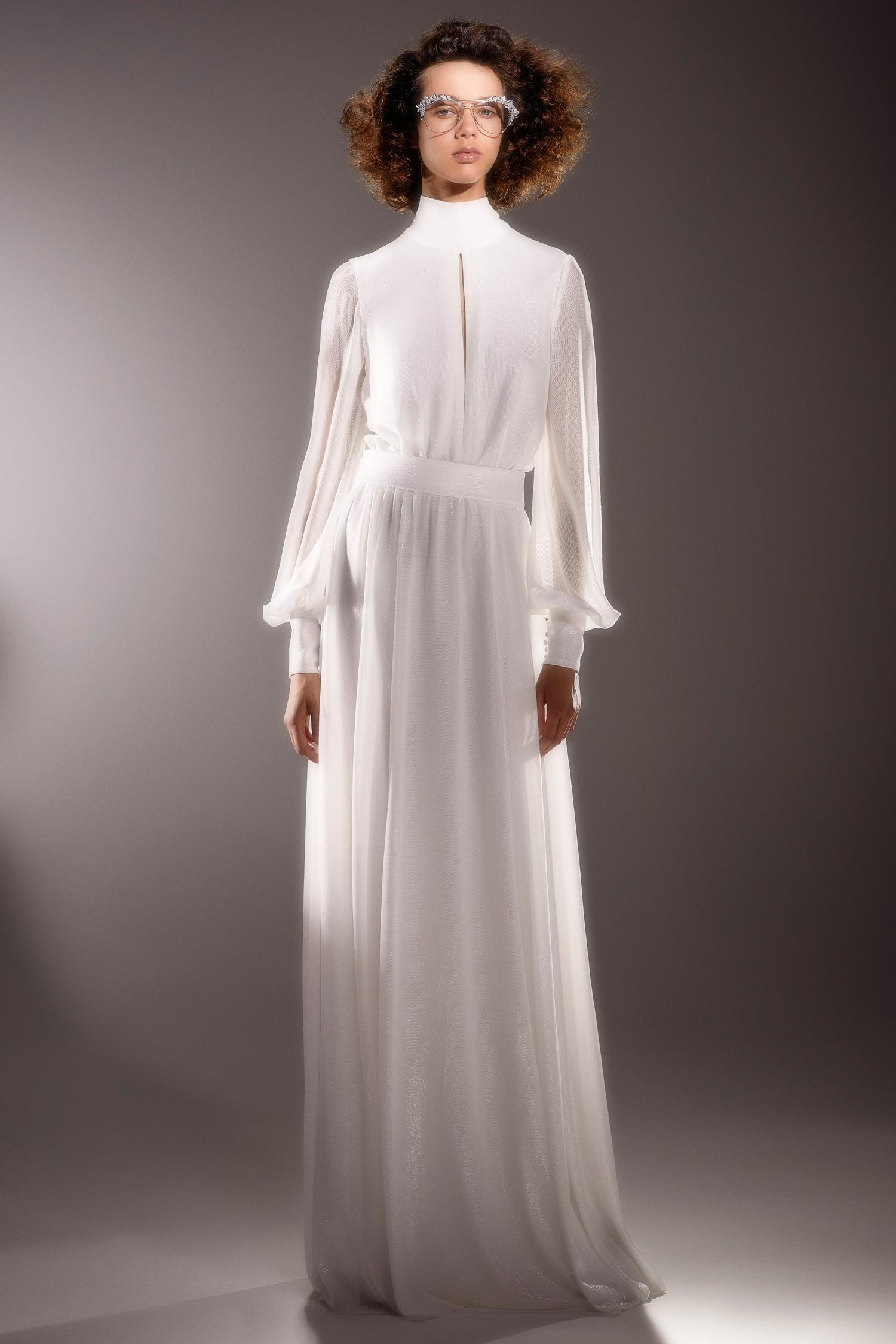 viktor and rolf long sleeve high neckline sheath wedding dress spring 2020