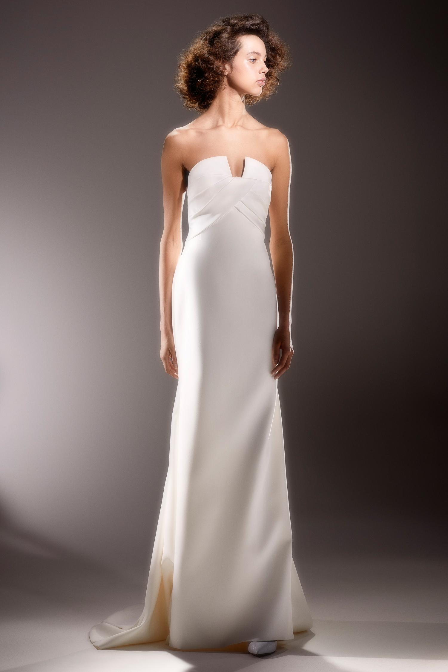 viktor and rolf strapless notched neckline sheath wedding dress spring 2020