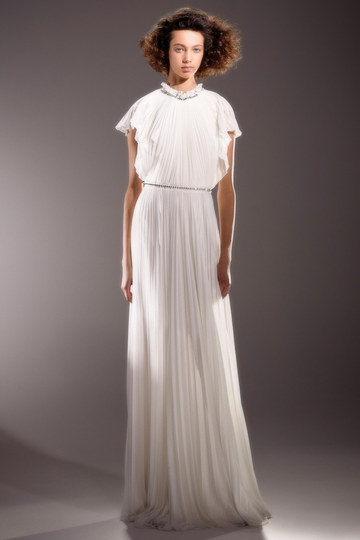 viktor and rolf short sleeve high neckline belted sheath wedding dress spring 2020