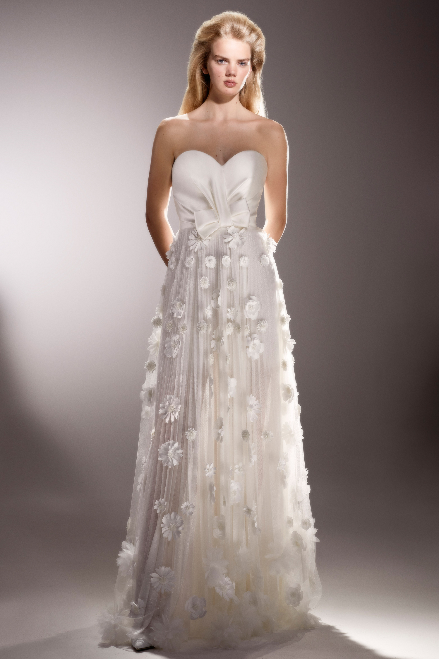 viktor and rolf strapless sheath wedding dress with floral applique spring 2020