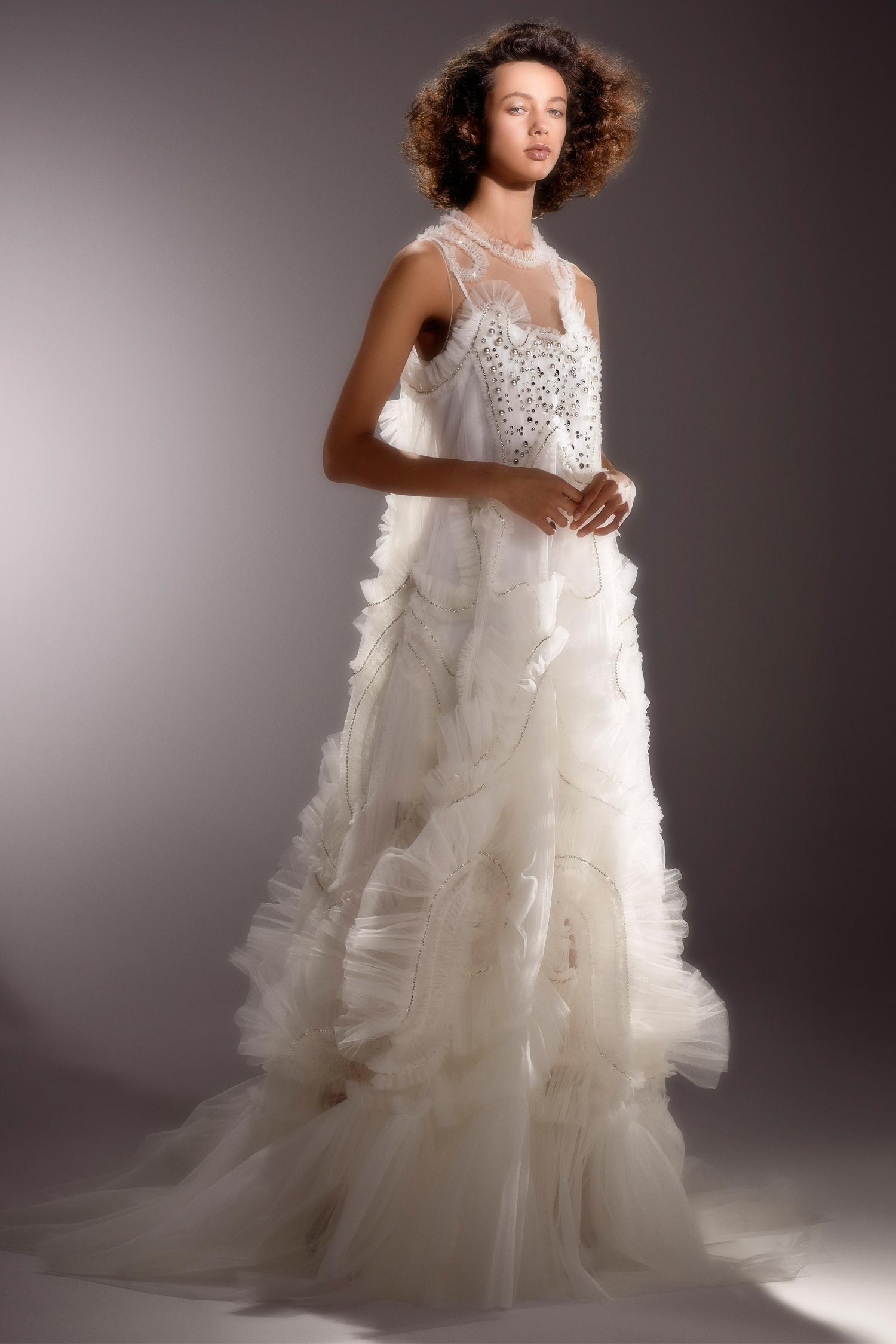 viktor and rolf sleeveless beaded ruffled wedding dress spring 2020