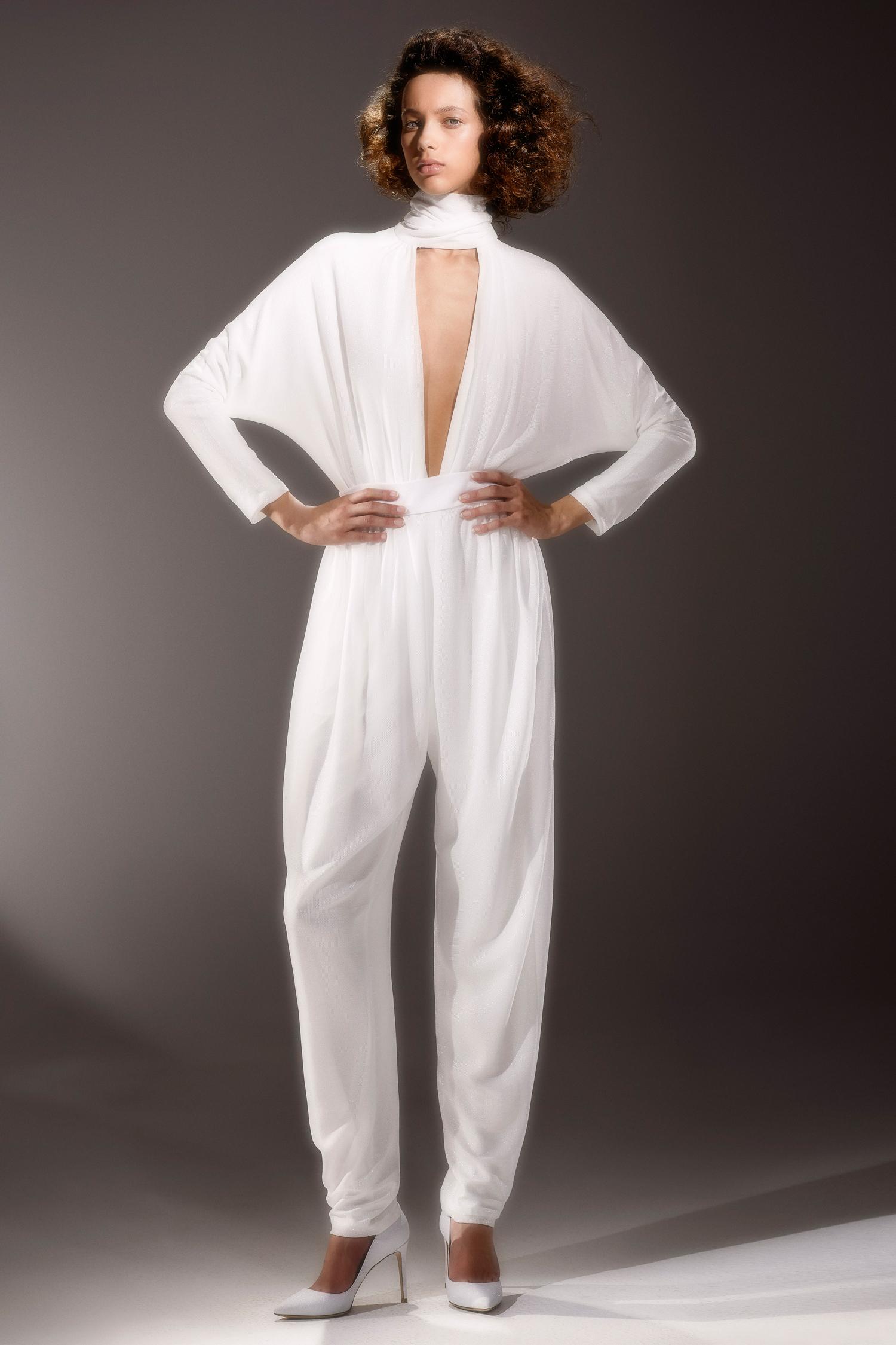 viktor and rolf long sleeve plunging neckline jumpsuit wedding dress spring 2020