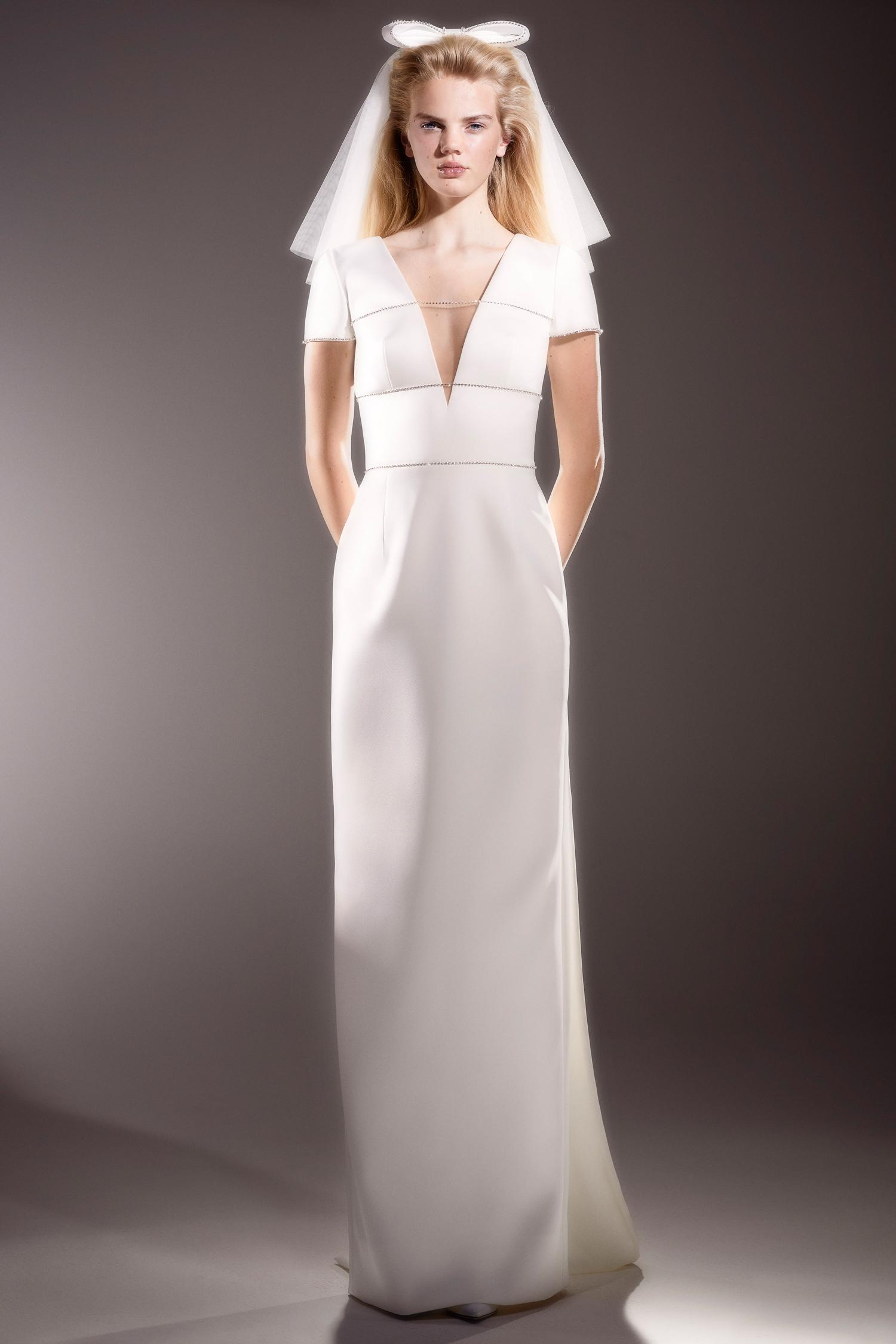 viktor and rolf short sleeve v neck sheath wedding dress spring 2020
