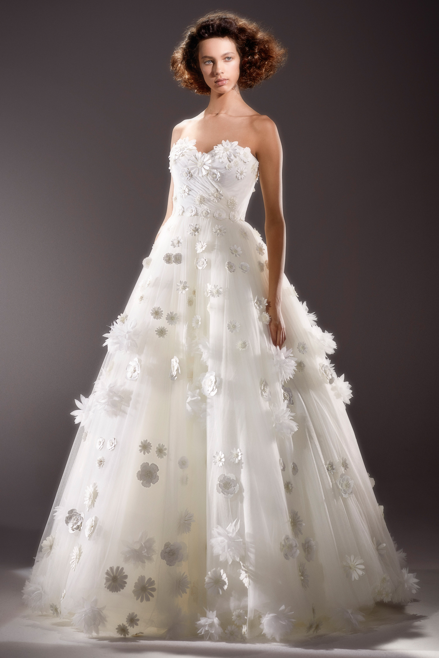 viktor and rolf strapless ballgown wedding dress with floral applique spring 2020