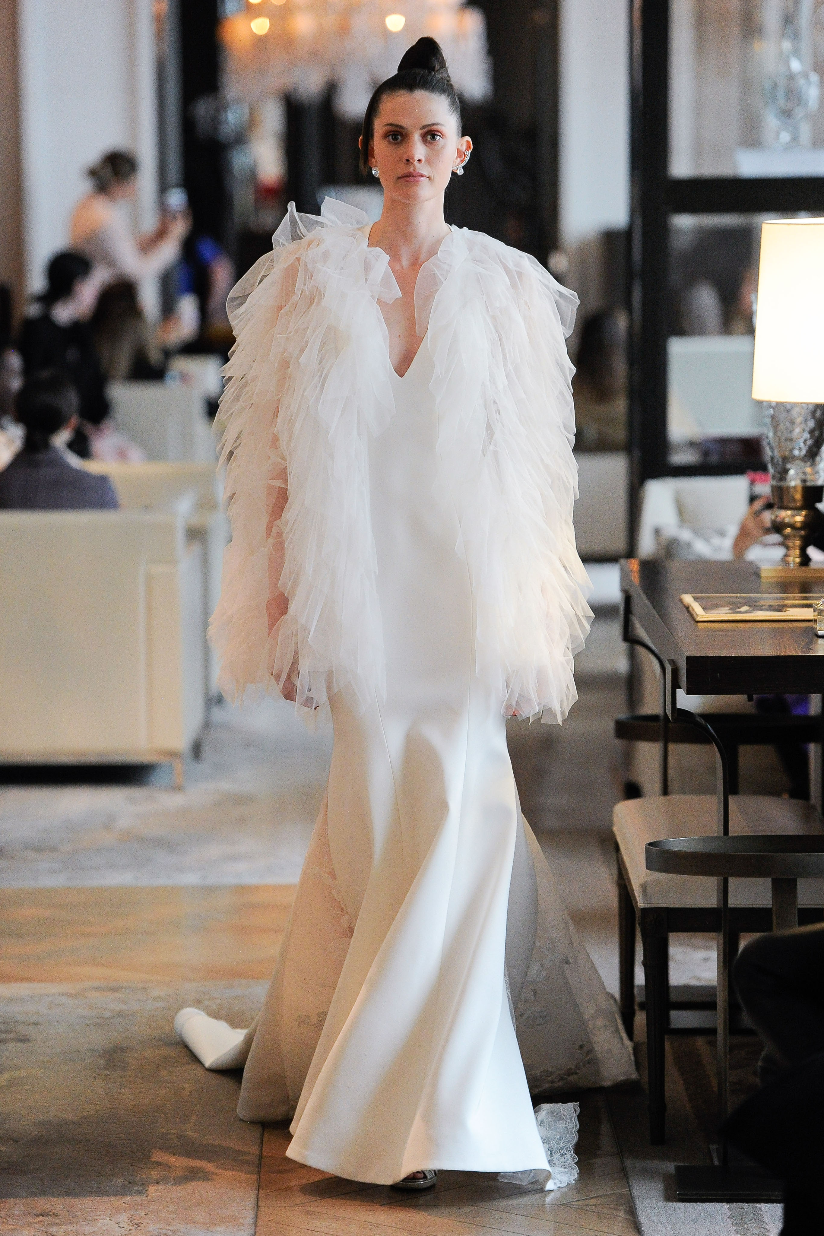 v-neck tulle sleeve semi mermaid wedding dress Ines Di Santo Spring 2020