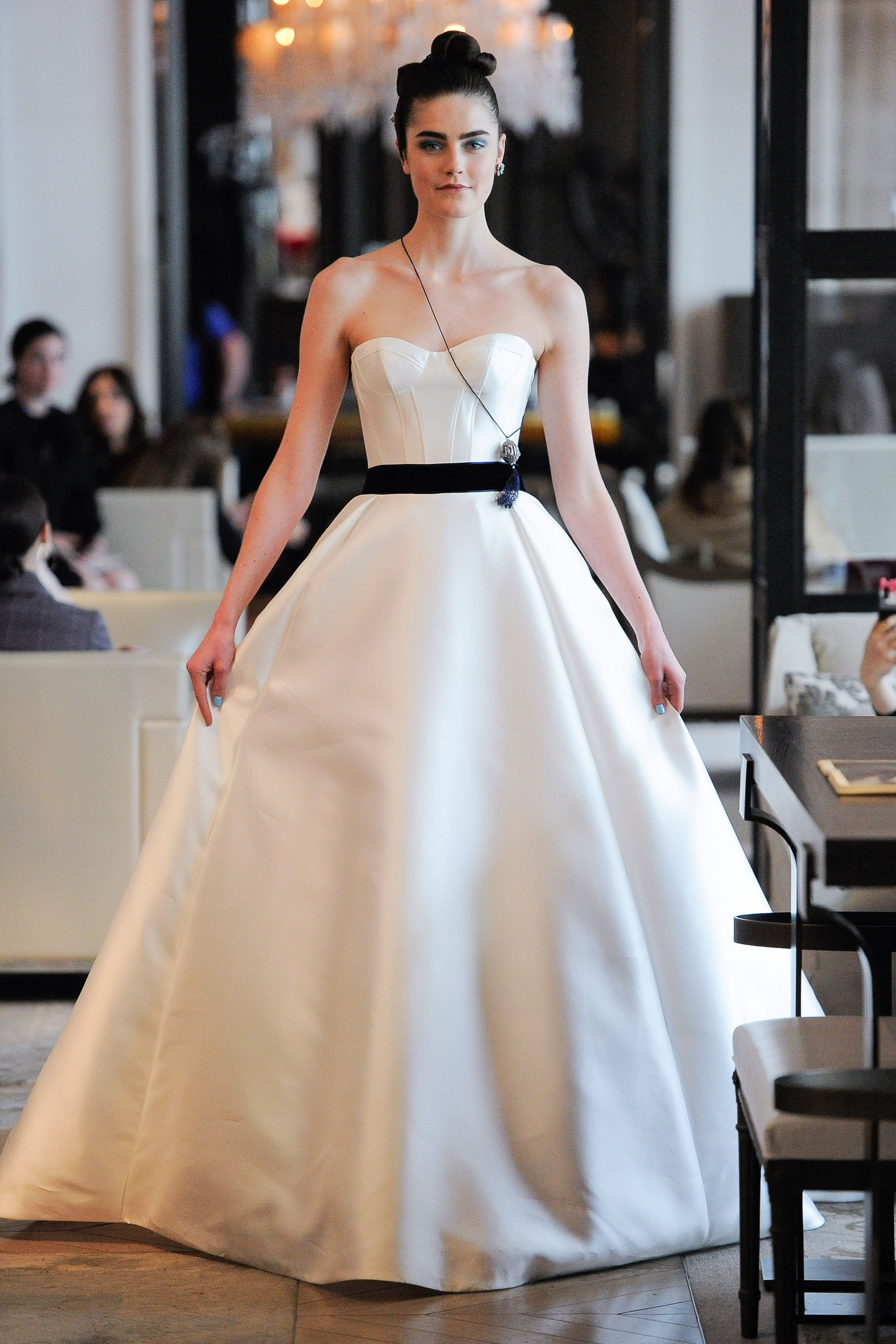 strapless semi sweetheart belted a-line wedding dress Ines Di Santo Spring 2020