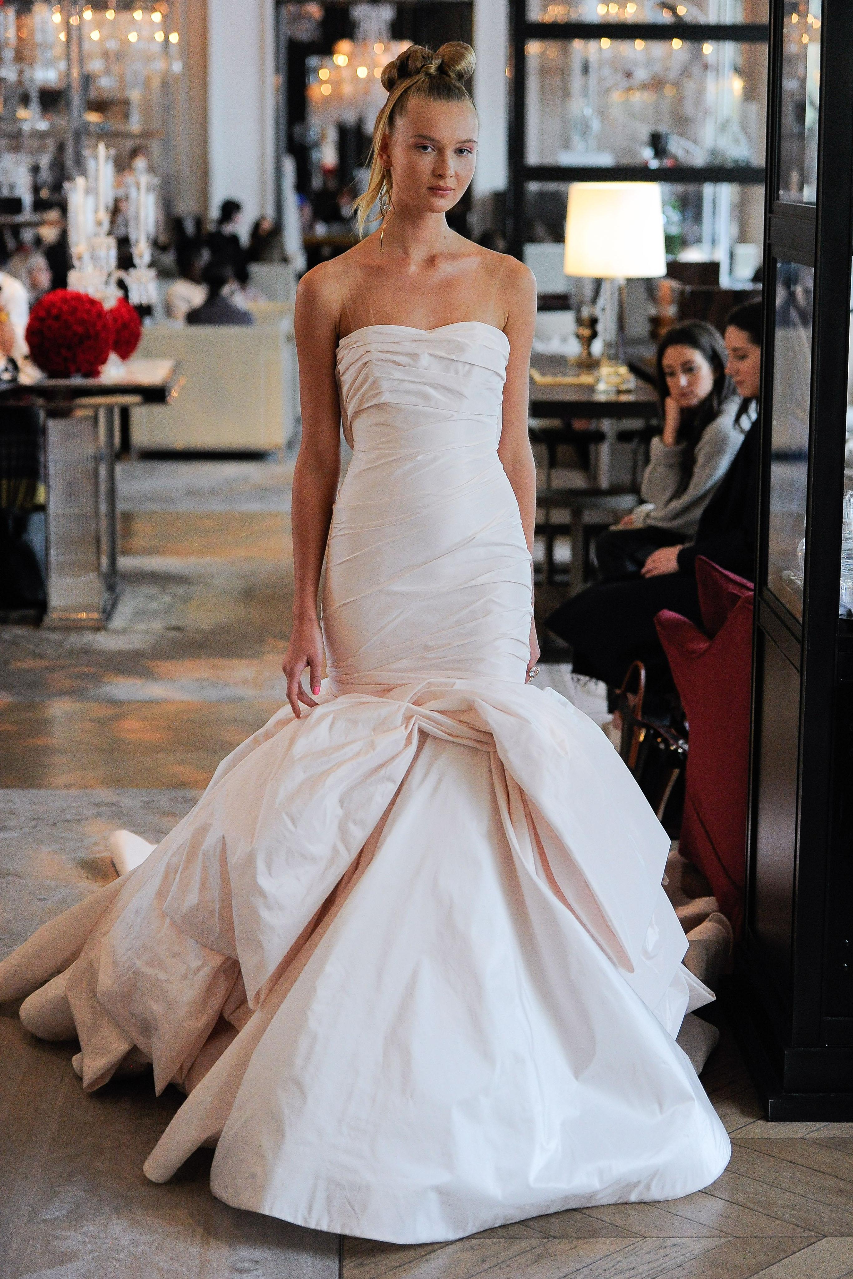 straight across strapless ruching mermaid wedding dress Ines Di Santo Spring 2020