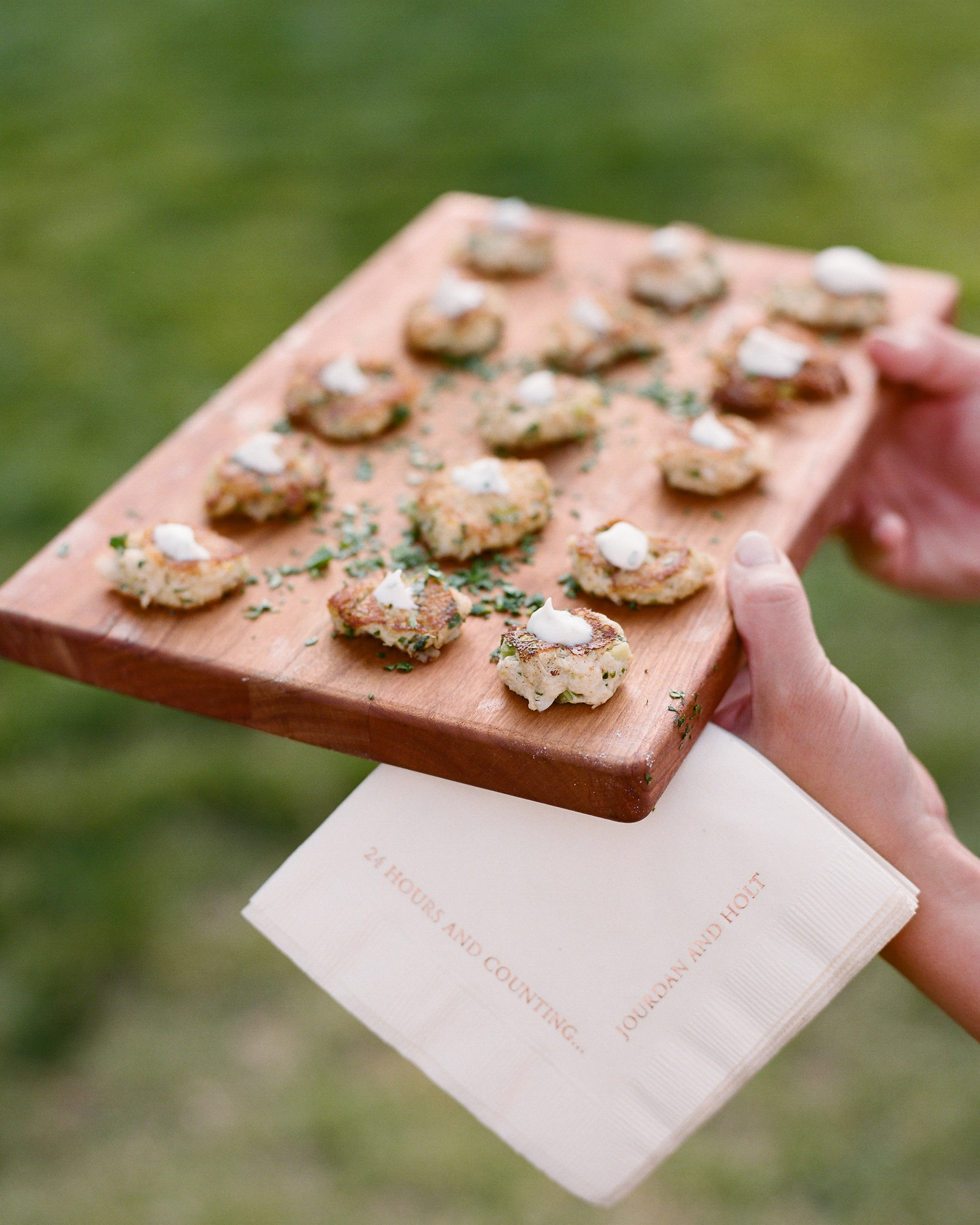 hors d'ouerves on wooden trays custom cocktail napkins