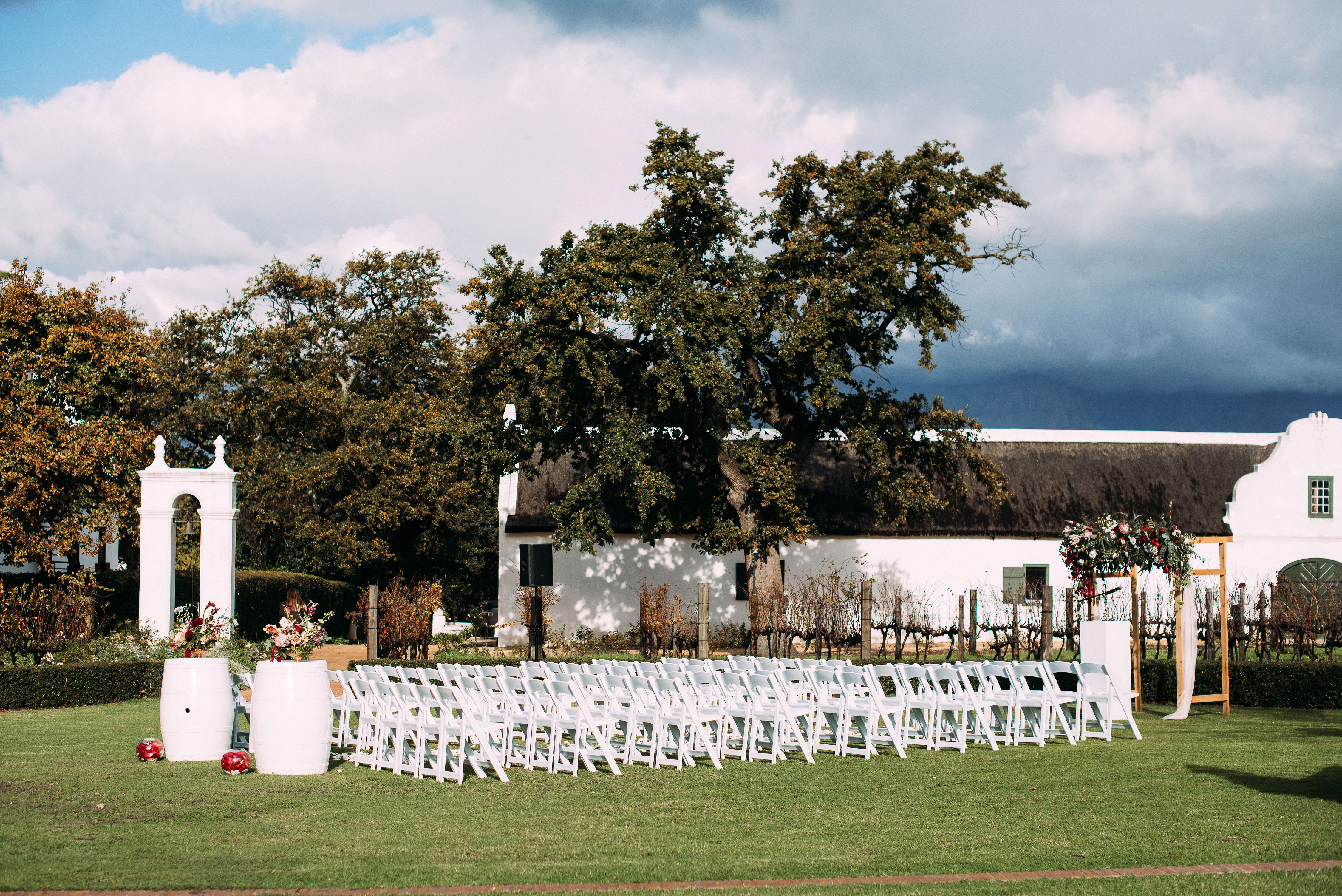 yolana douglas wedding outside ceremony space