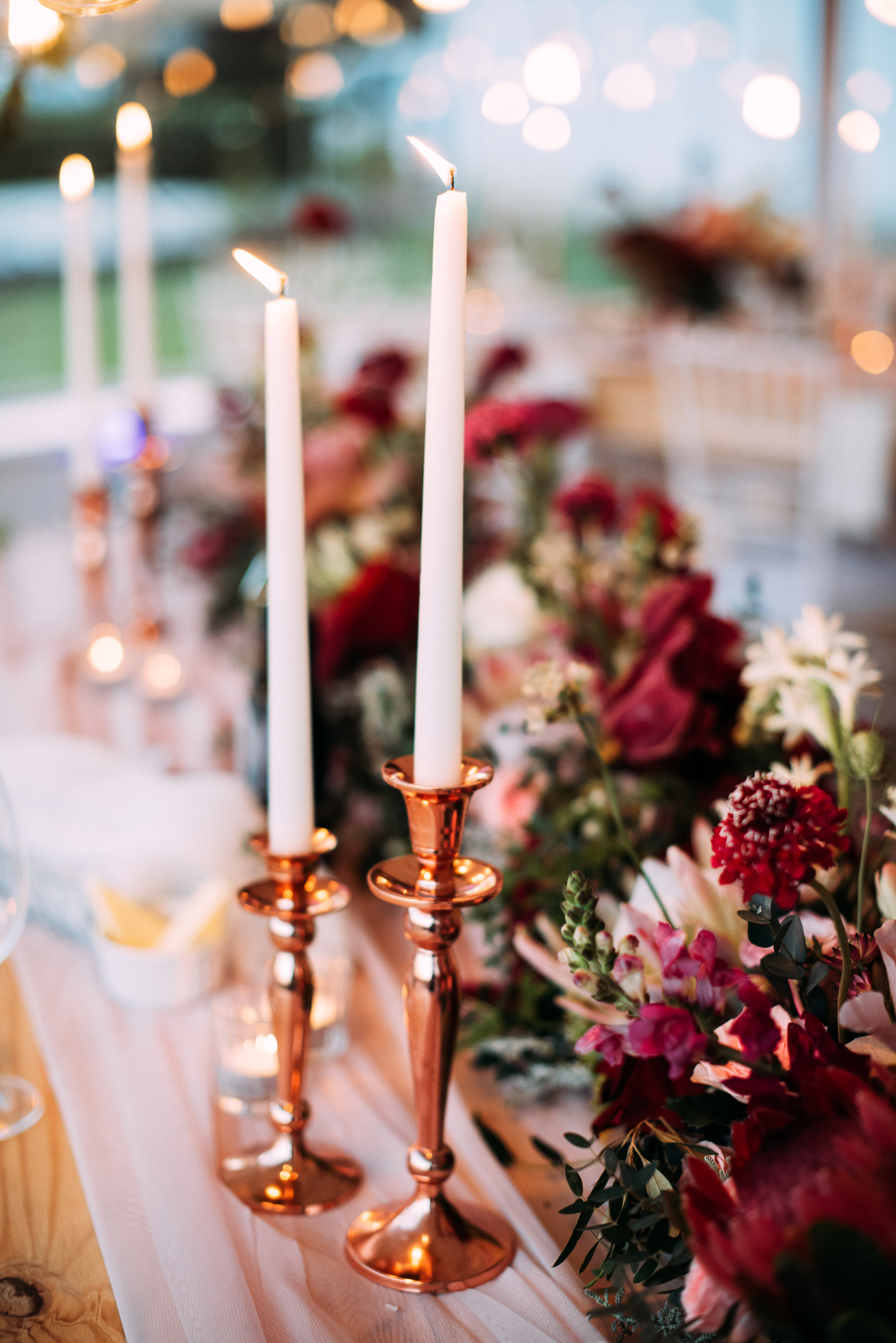 yolana douglas wedding reception tablescape candles