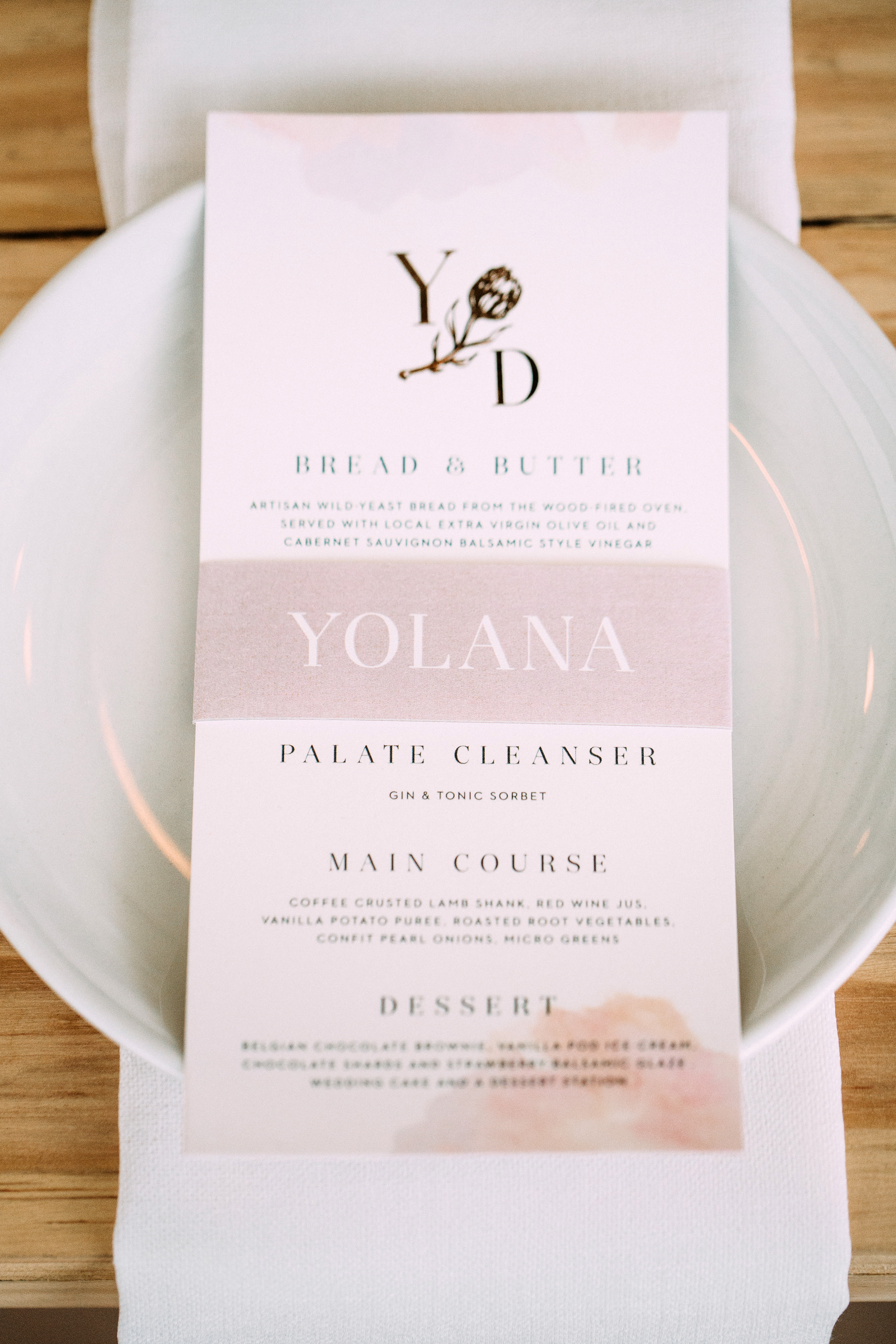 yolana douglas wedding reception menu on plate