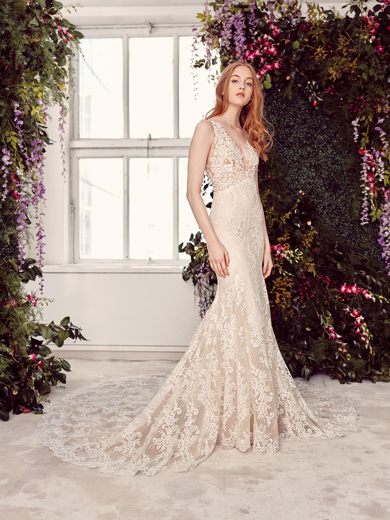 alyne by rita vinieris v-neck lace overlay wedding dress spring 2020