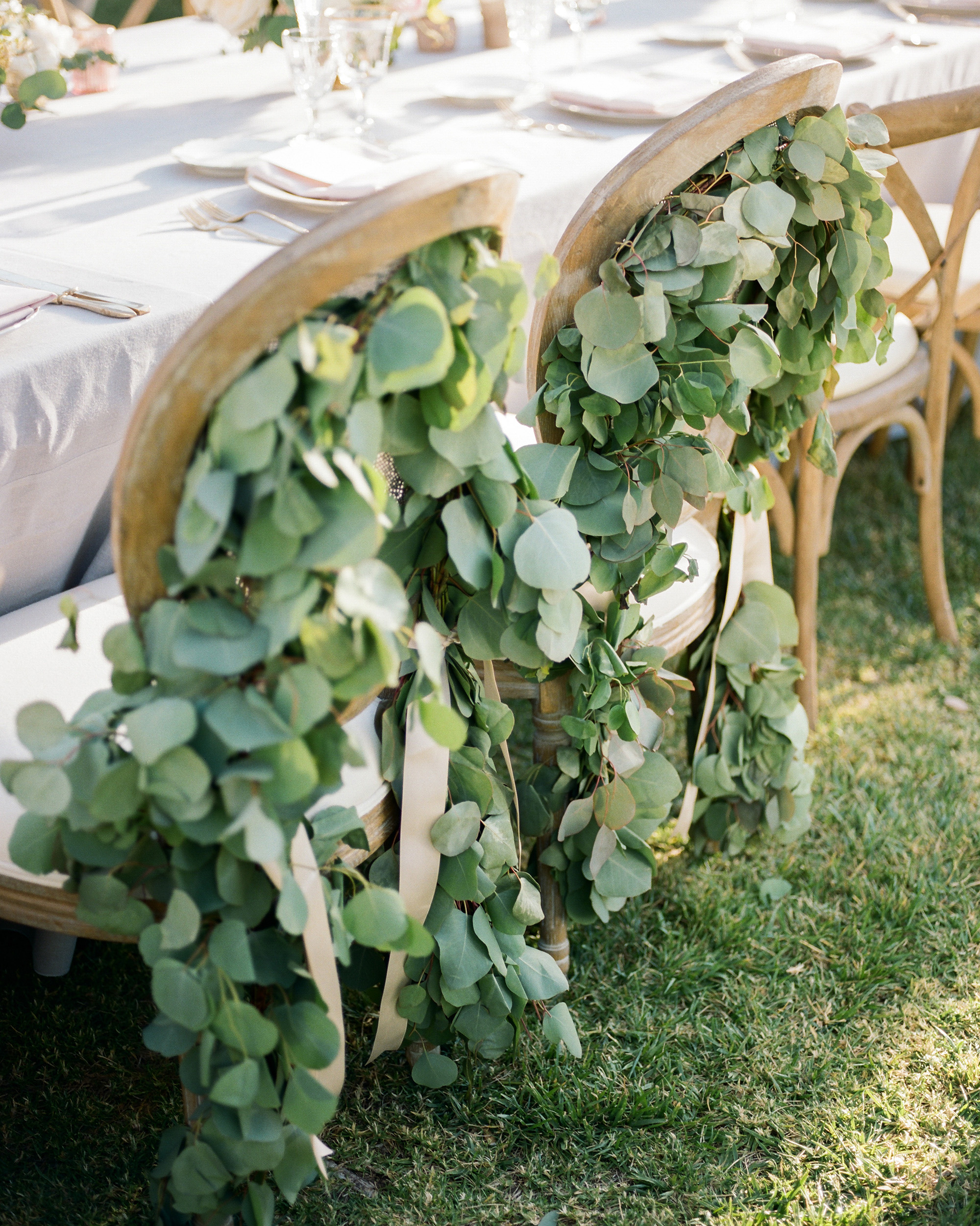 eucalyptus-centric lined outdoor seating