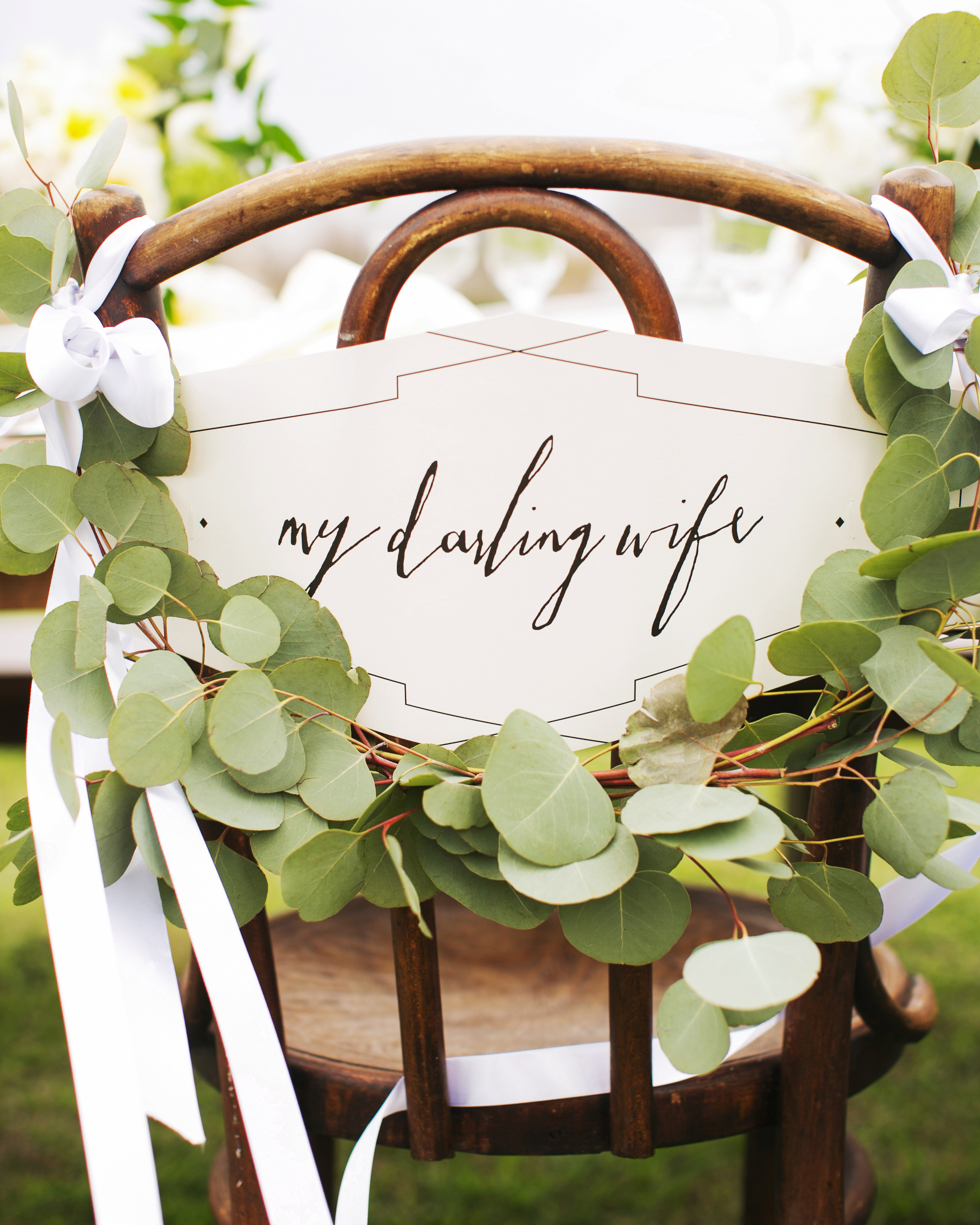 eucalyptus wrap wood chair darling wife sign