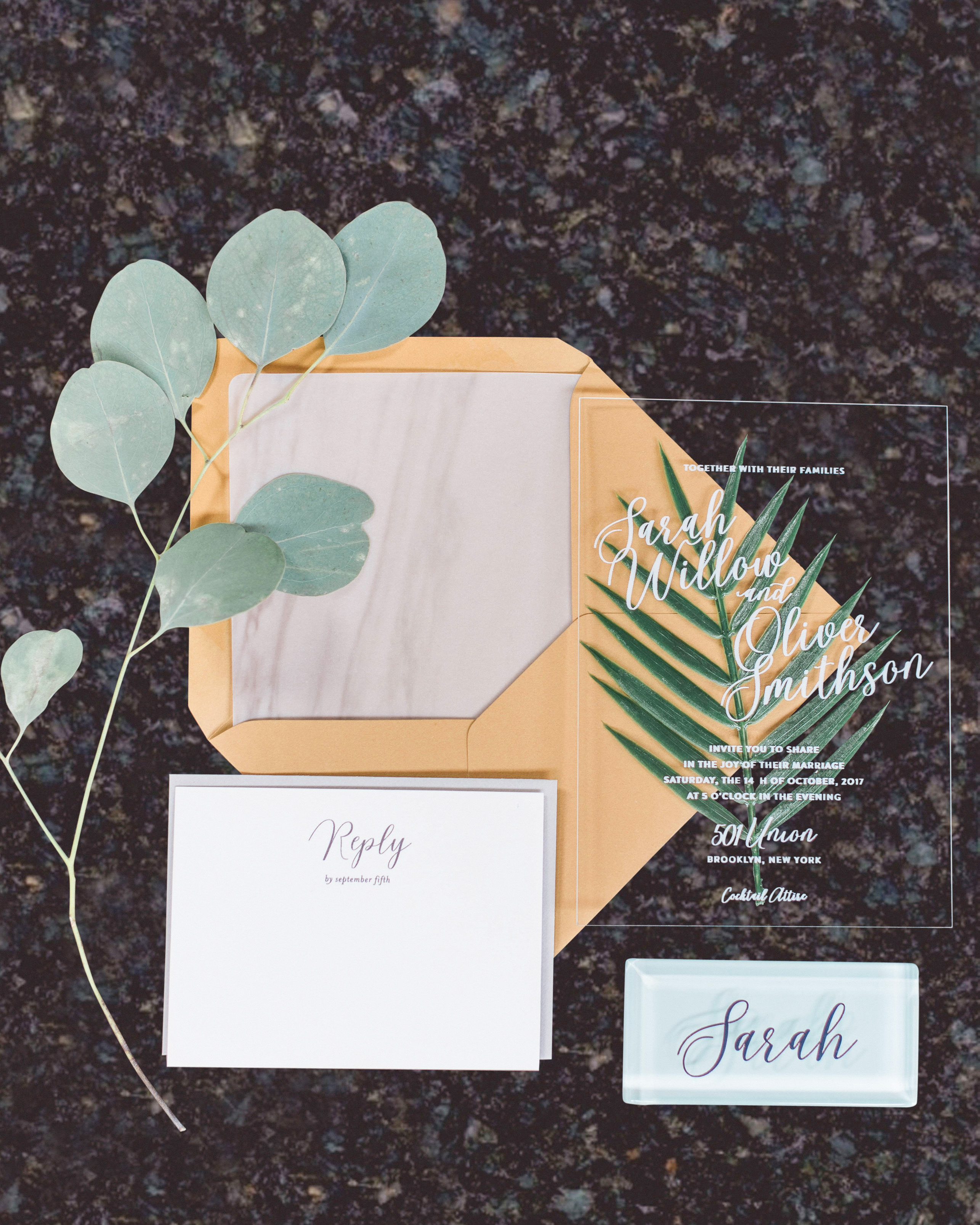 eucalyptus branch with flat lay stationary