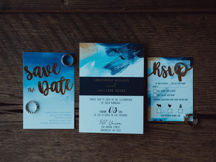 blue brush stroke design wedding stationary suit with gold accents