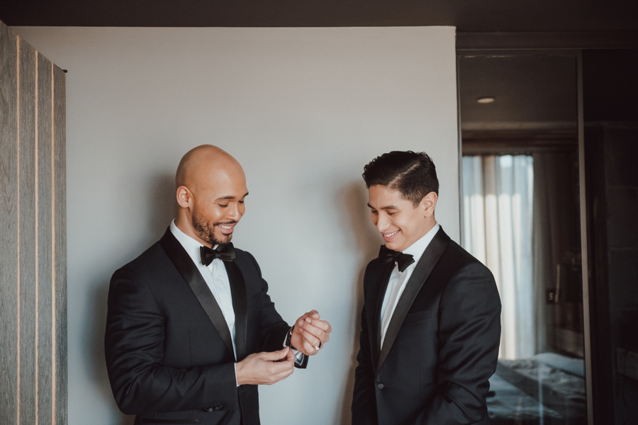 grooms getting ready before wedding